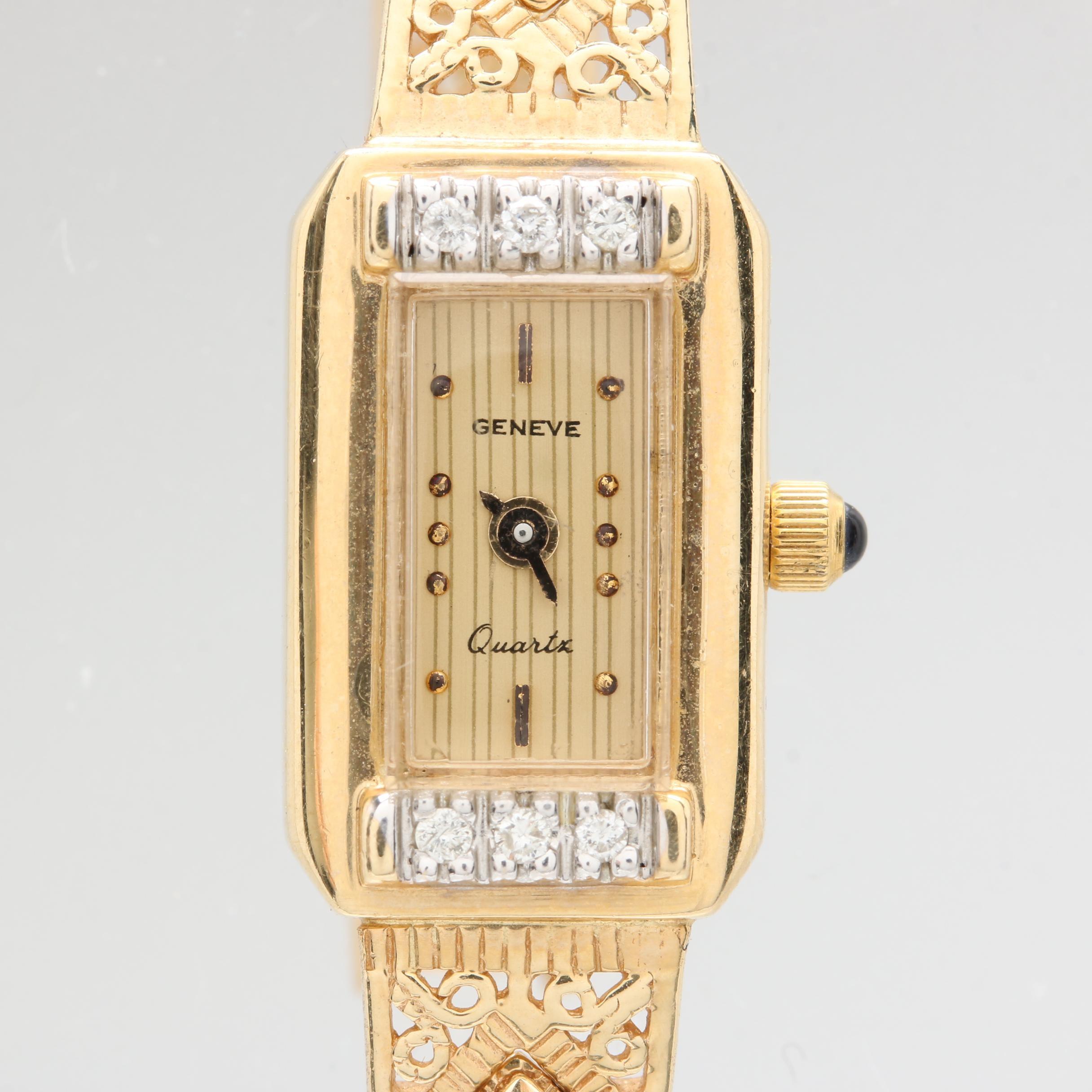 Geneve Quartz 14K Yellow Gold Diamond Wristwatch