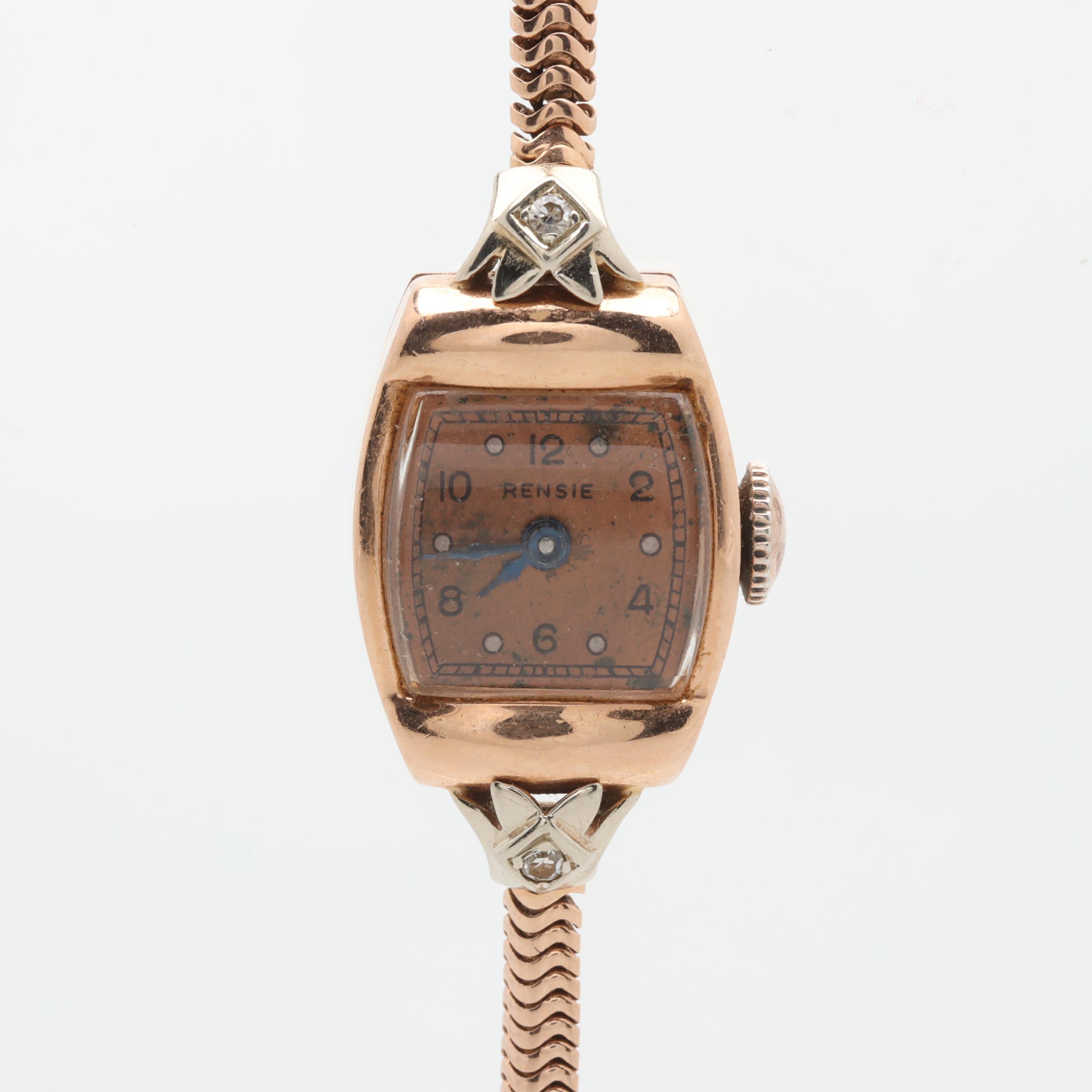 Rensie 14K Rose Gold Diamond Analog Wristwatch
