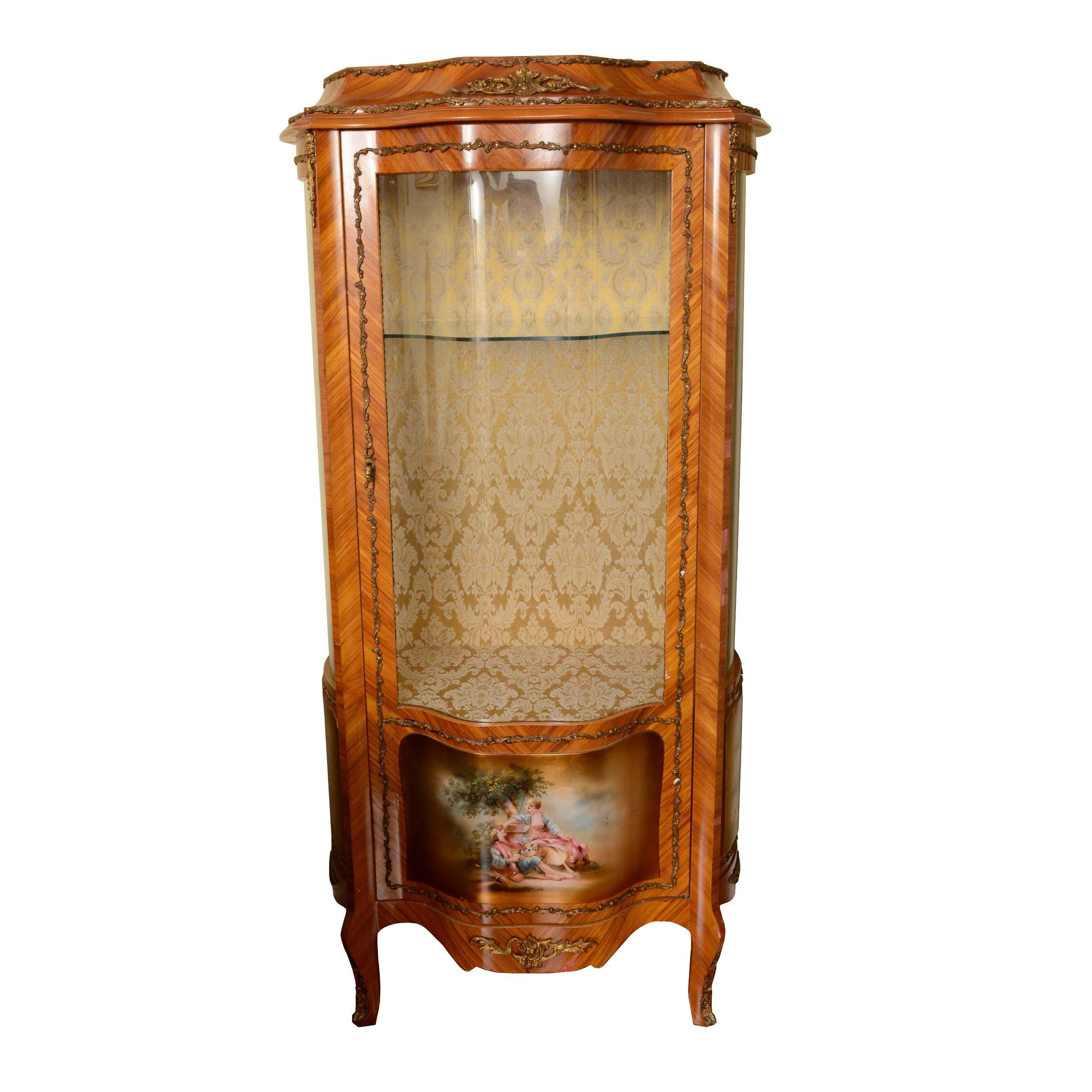 Vintage Louis XV Style Vitrine Cabinet