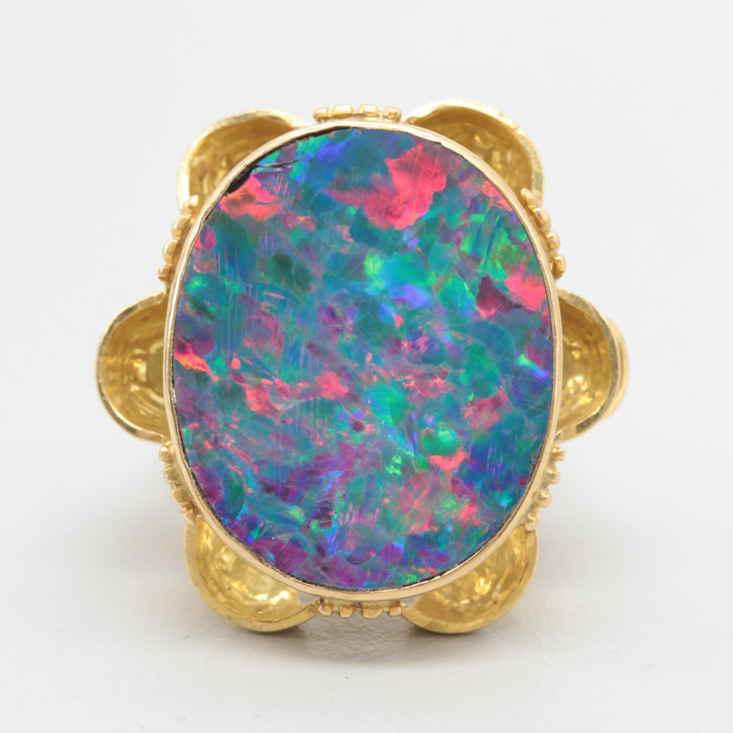 18K Yellow Gold Opal Doublet Ring