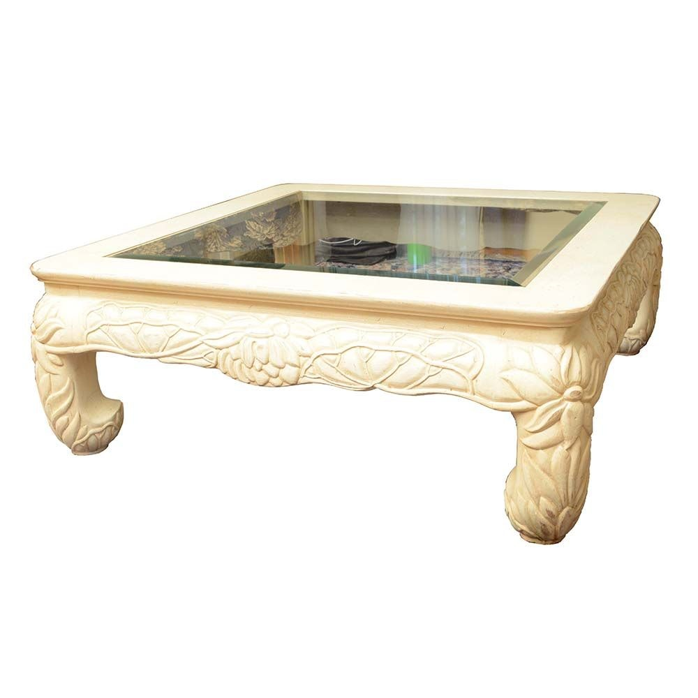 Contemporary Carved Wood Glass Top Coffee Table