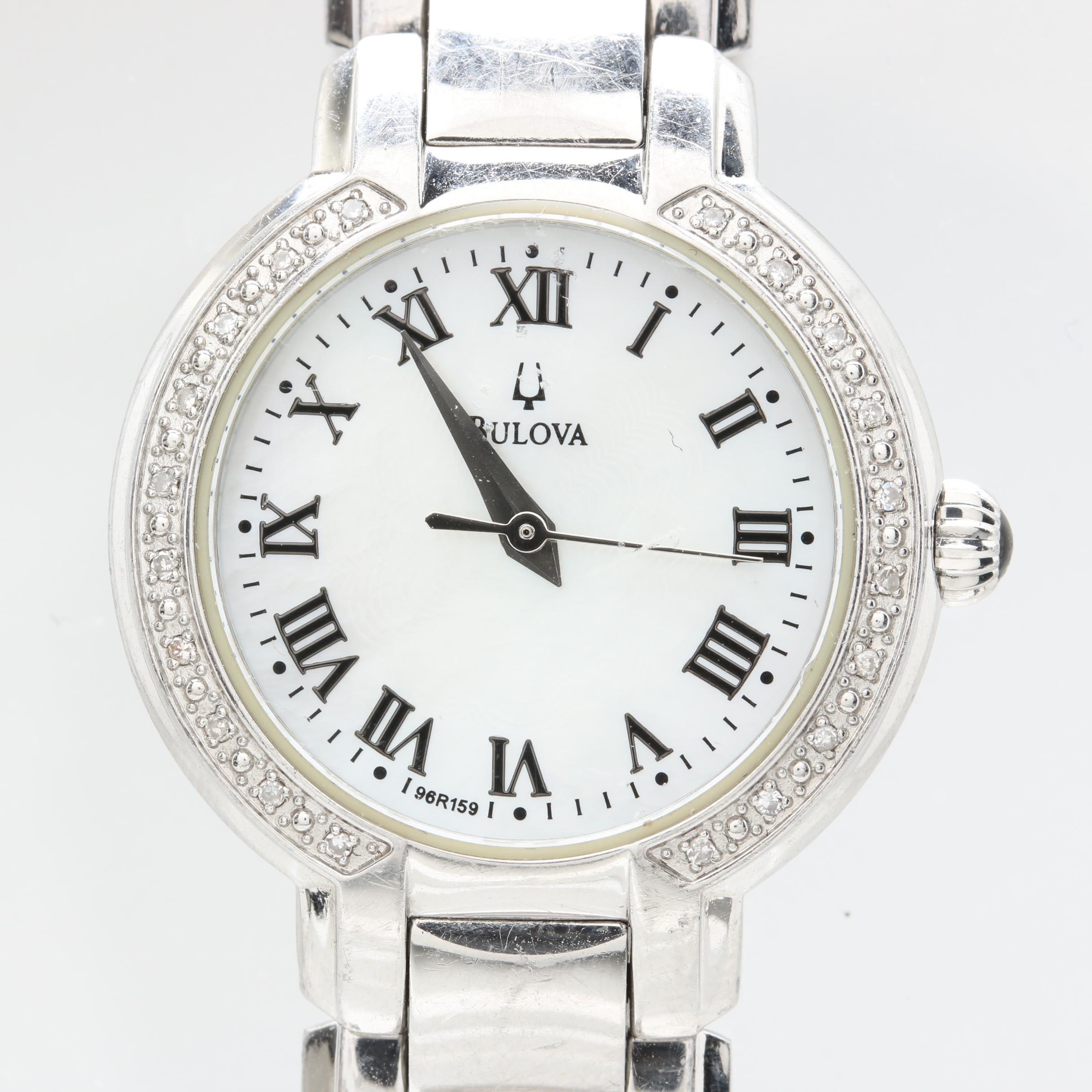 Bulova Stainless Steel Diamond and Mother of Pearl Wristwatch