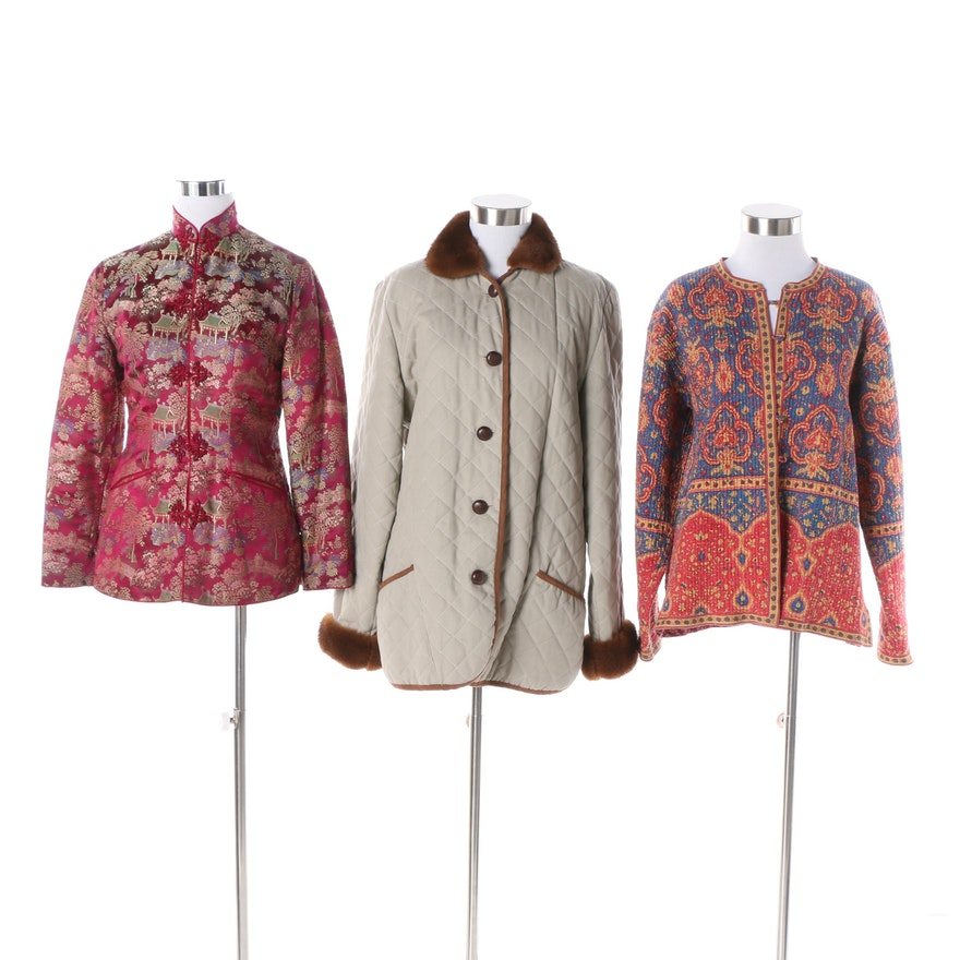 55a6143b45 Vintage Printed Quilted Jackets Including Reversible with Mink Fur Trim ...