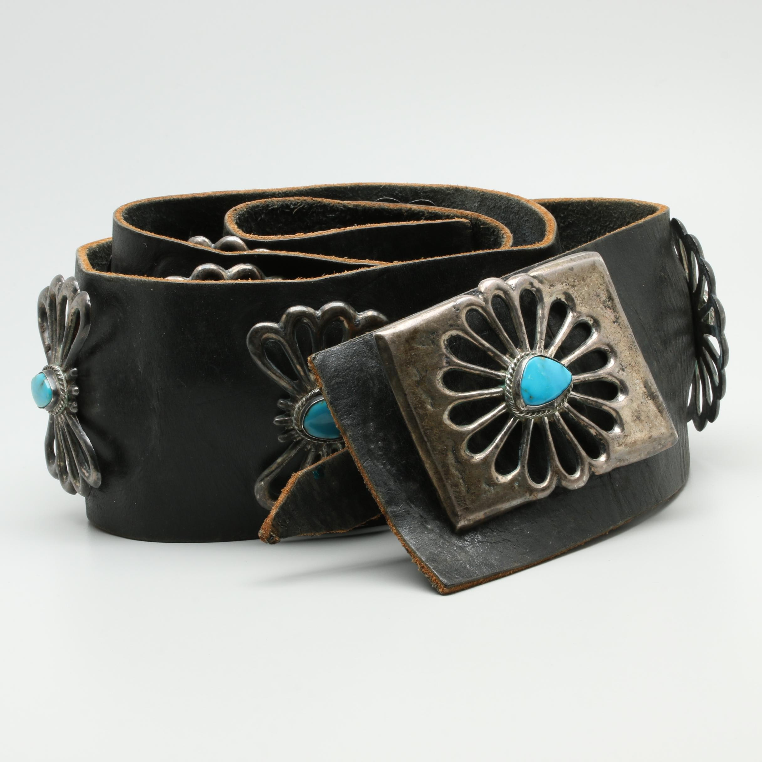 Sterling Silver Turquoise Accent Leather Belt