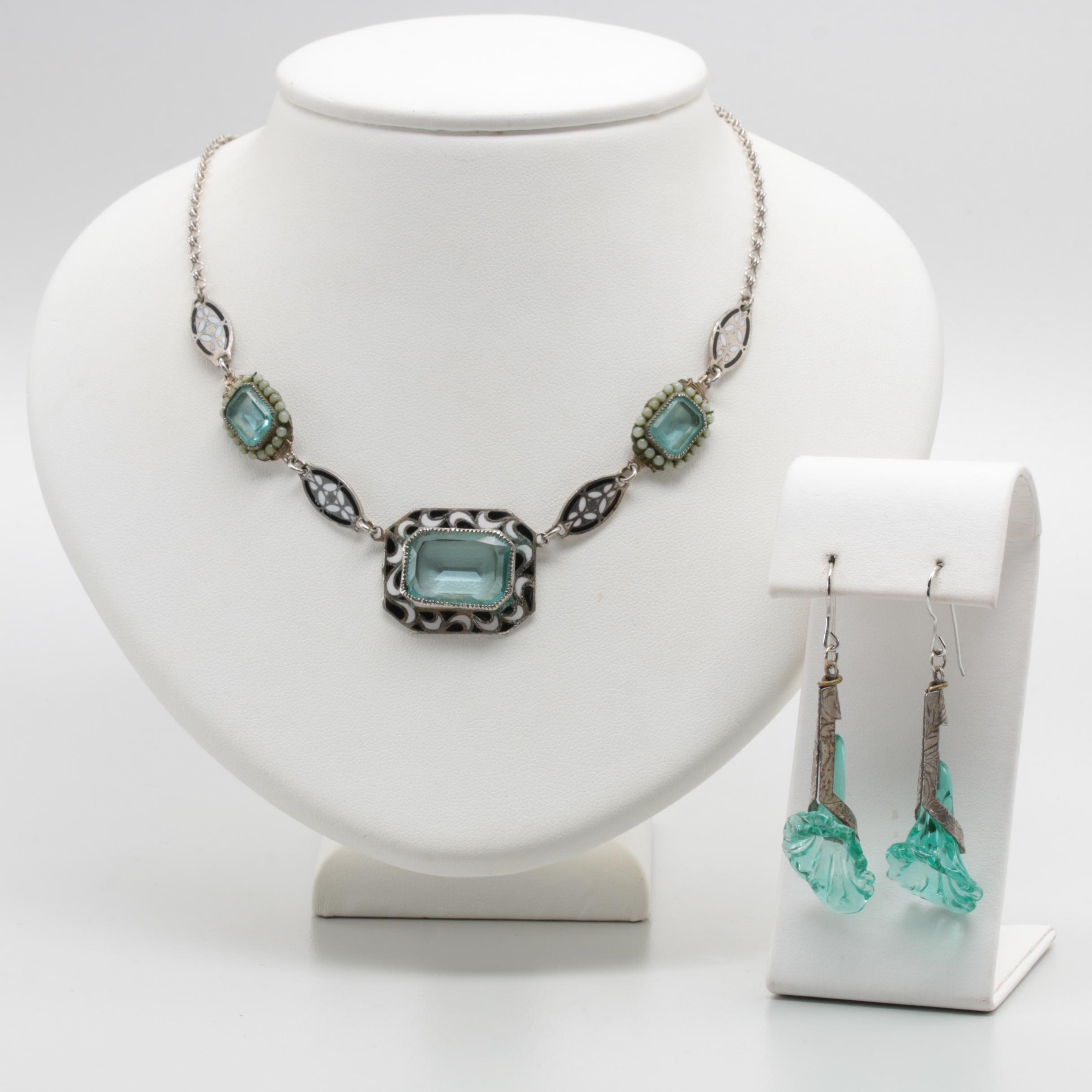 Art Deco Silver Tone Glass and Enamel Necklace and Earrings