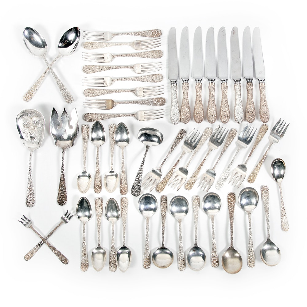 """Stieff Co. """"Repoussé"""" Sterling Silver Flatware Collection with Chest"""