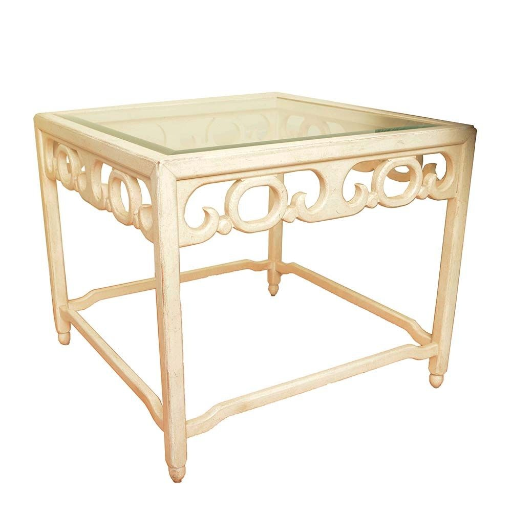 Glass Top Cream Wooden Side Table