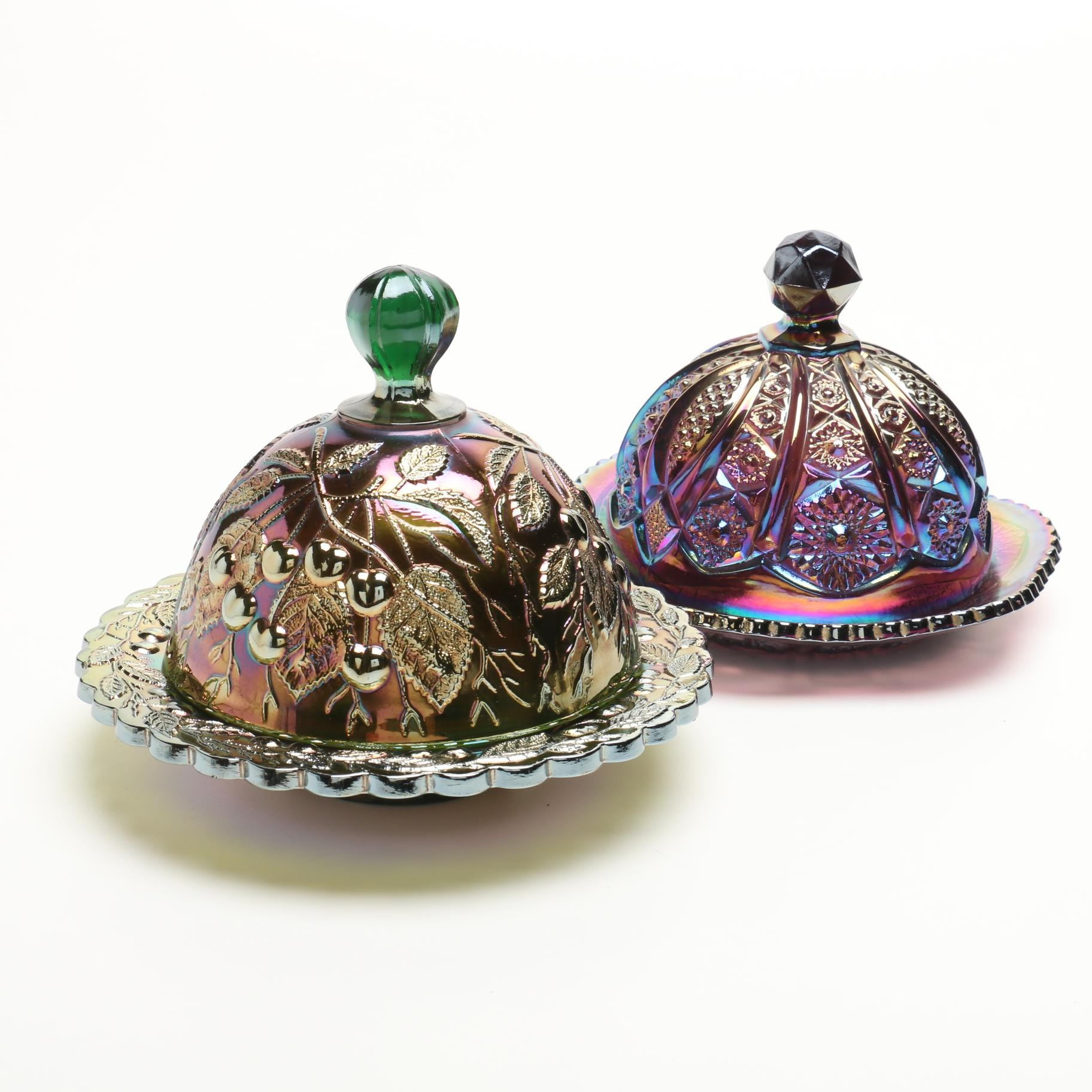 """Imperial Glass """"Octagon"""" and Millersburg """"Hanging Cherries"""" Butter Dishes"""