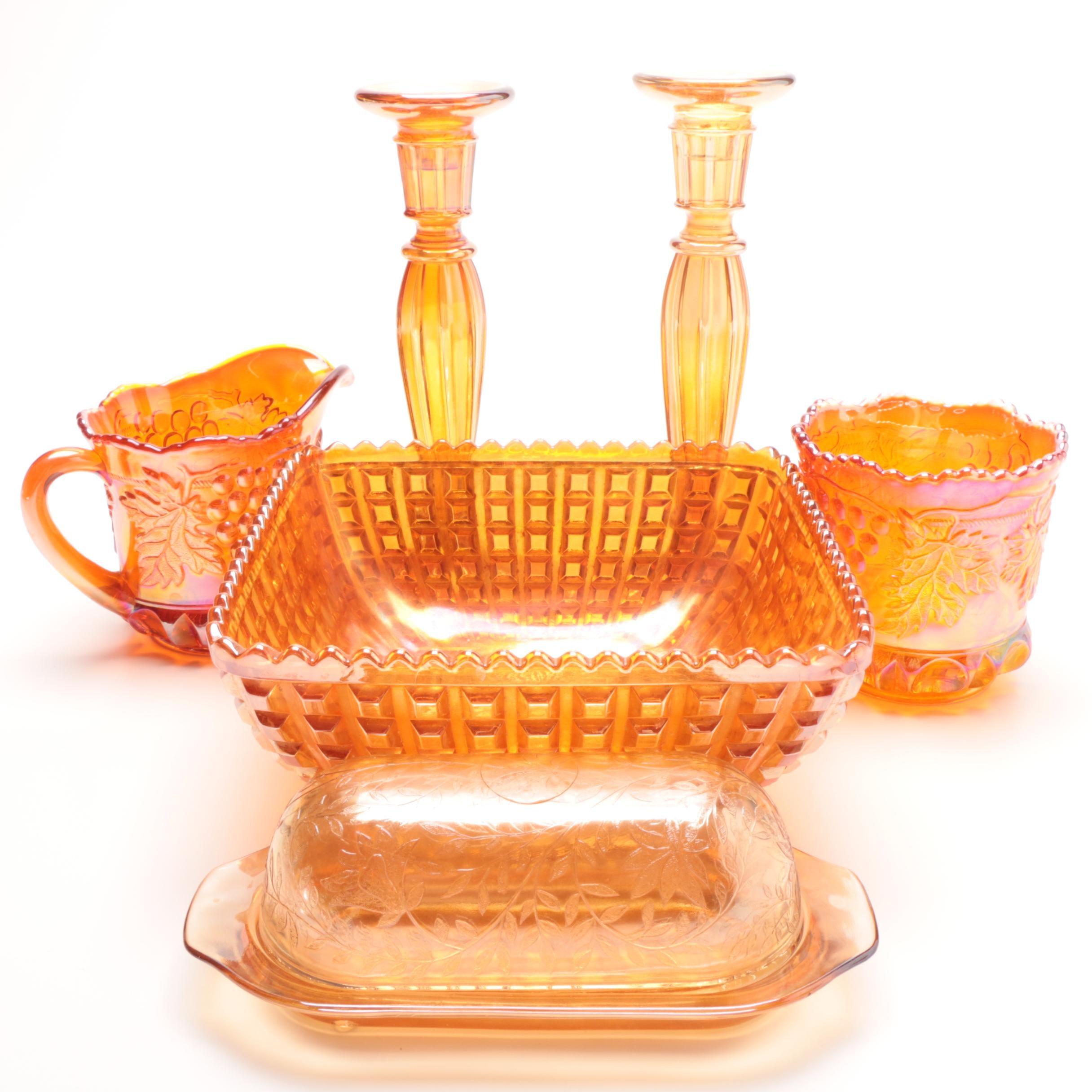 Marigold Carnival Glass Decorative Tableware
