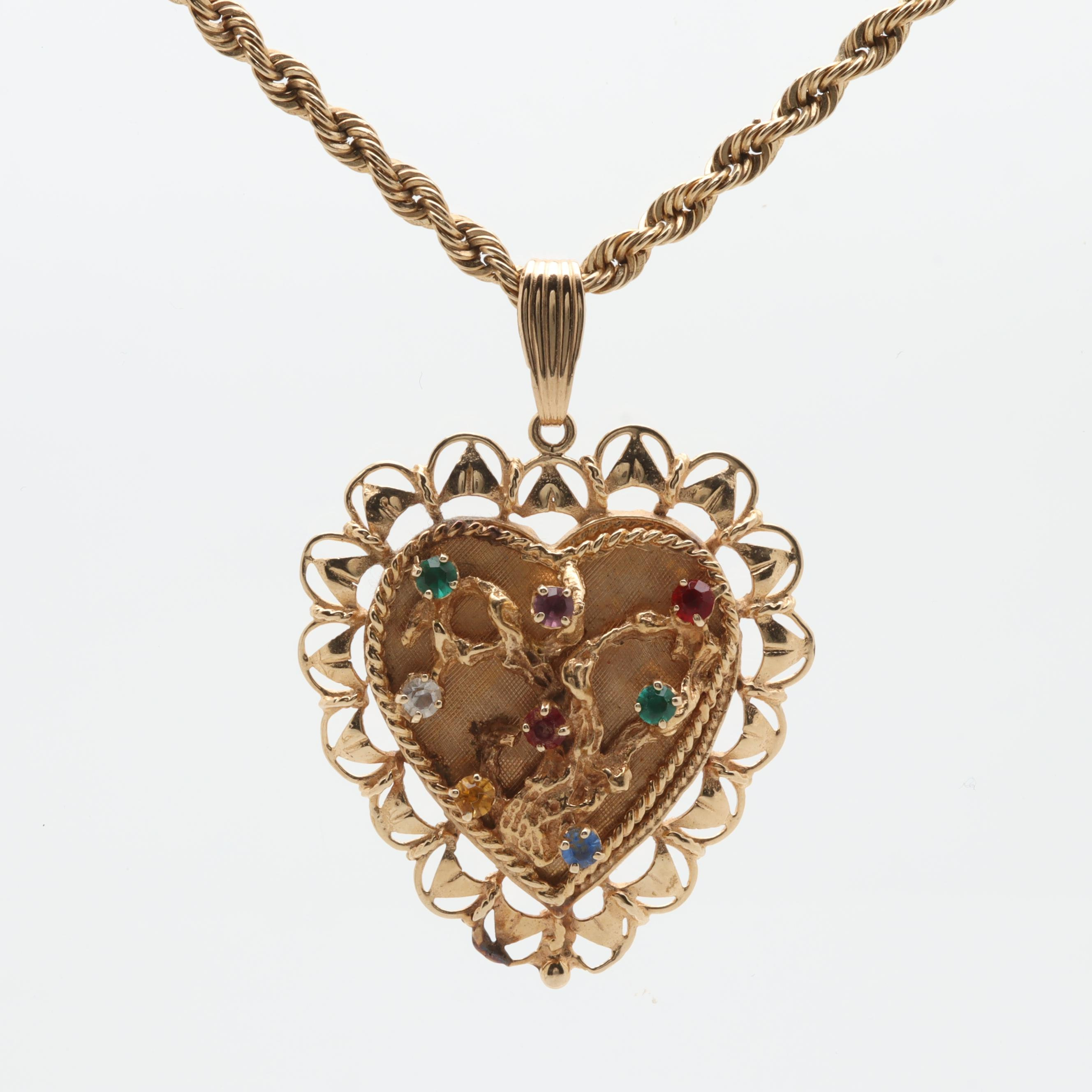 14K Yellow Gold Glass Pendant Necklace