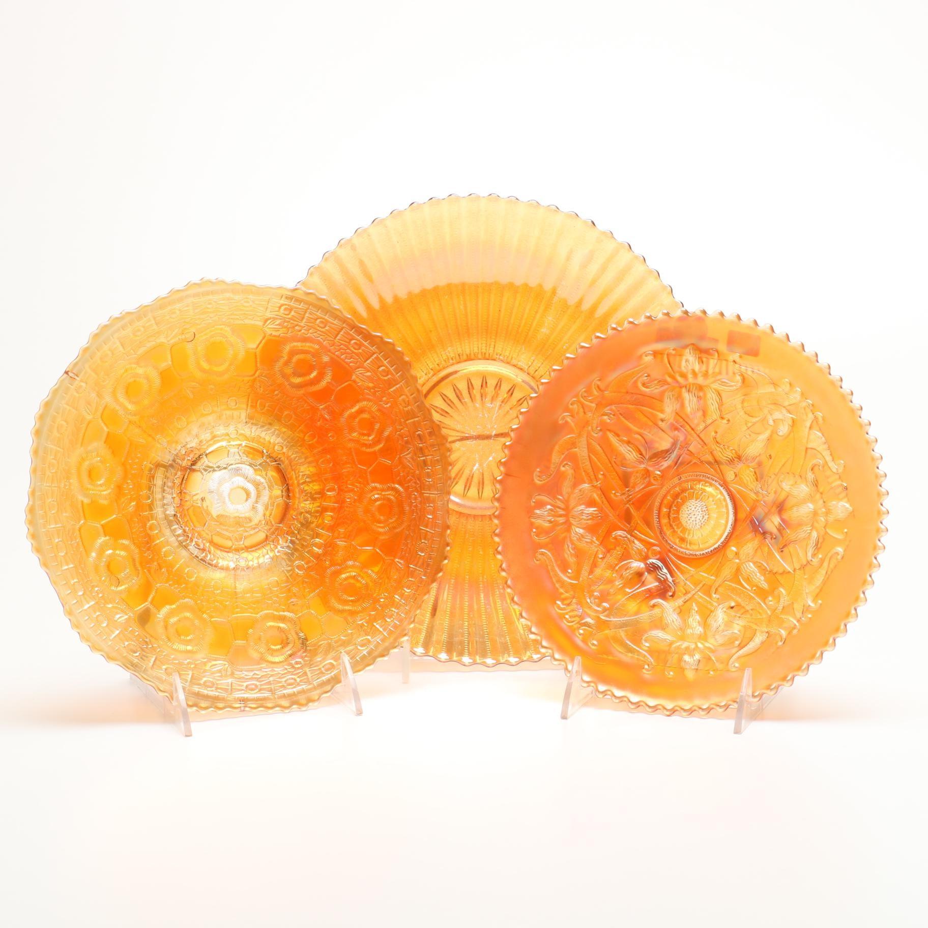 Marigold Carnival Glass Plates