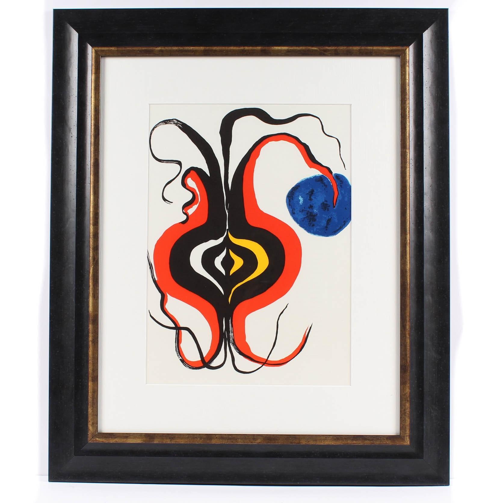"""Alexander Calder Color Lithograph from 1966 """"Derriere le Miroir, No. 156"""""""