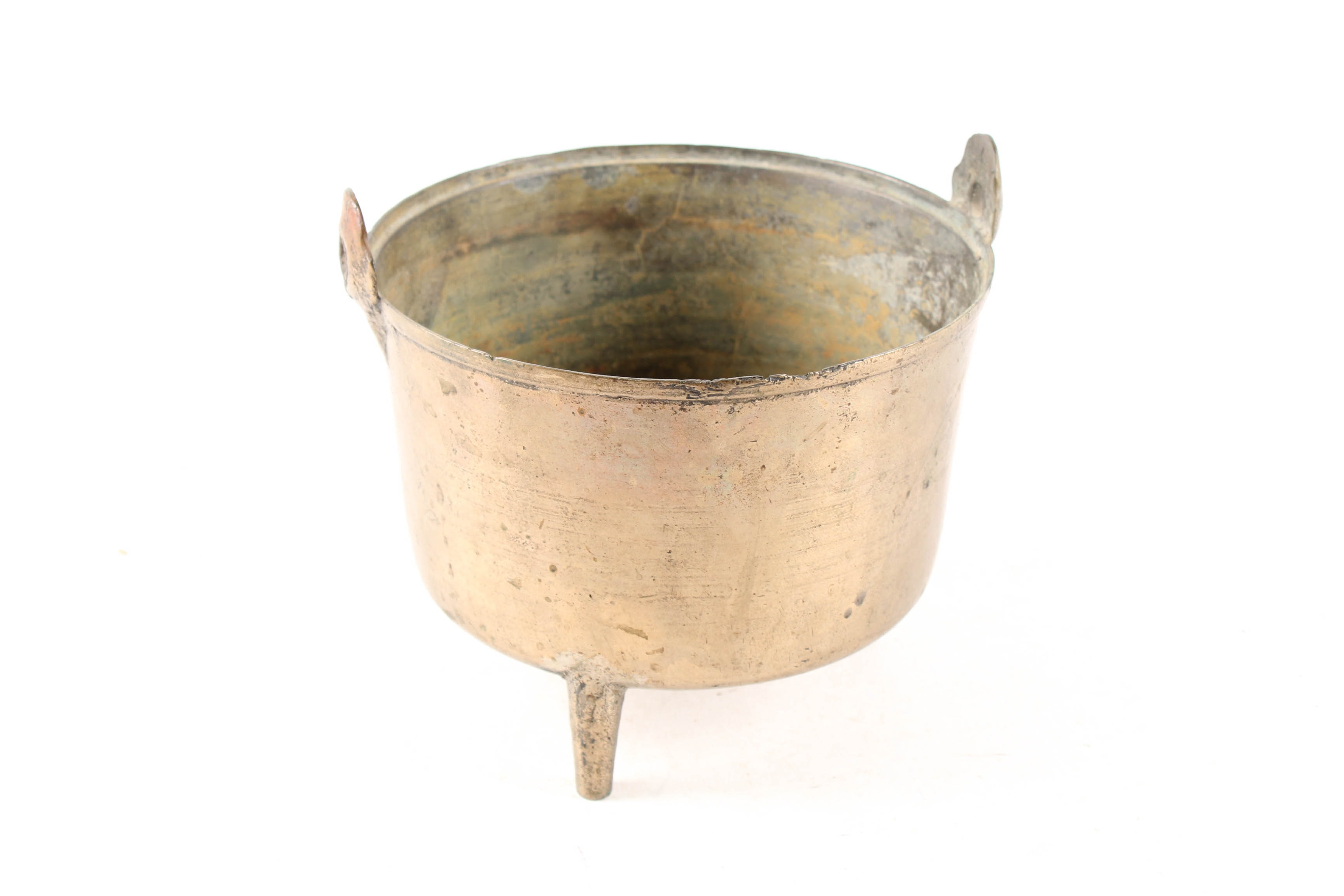 Antique Cast Brass Footed Cauldron