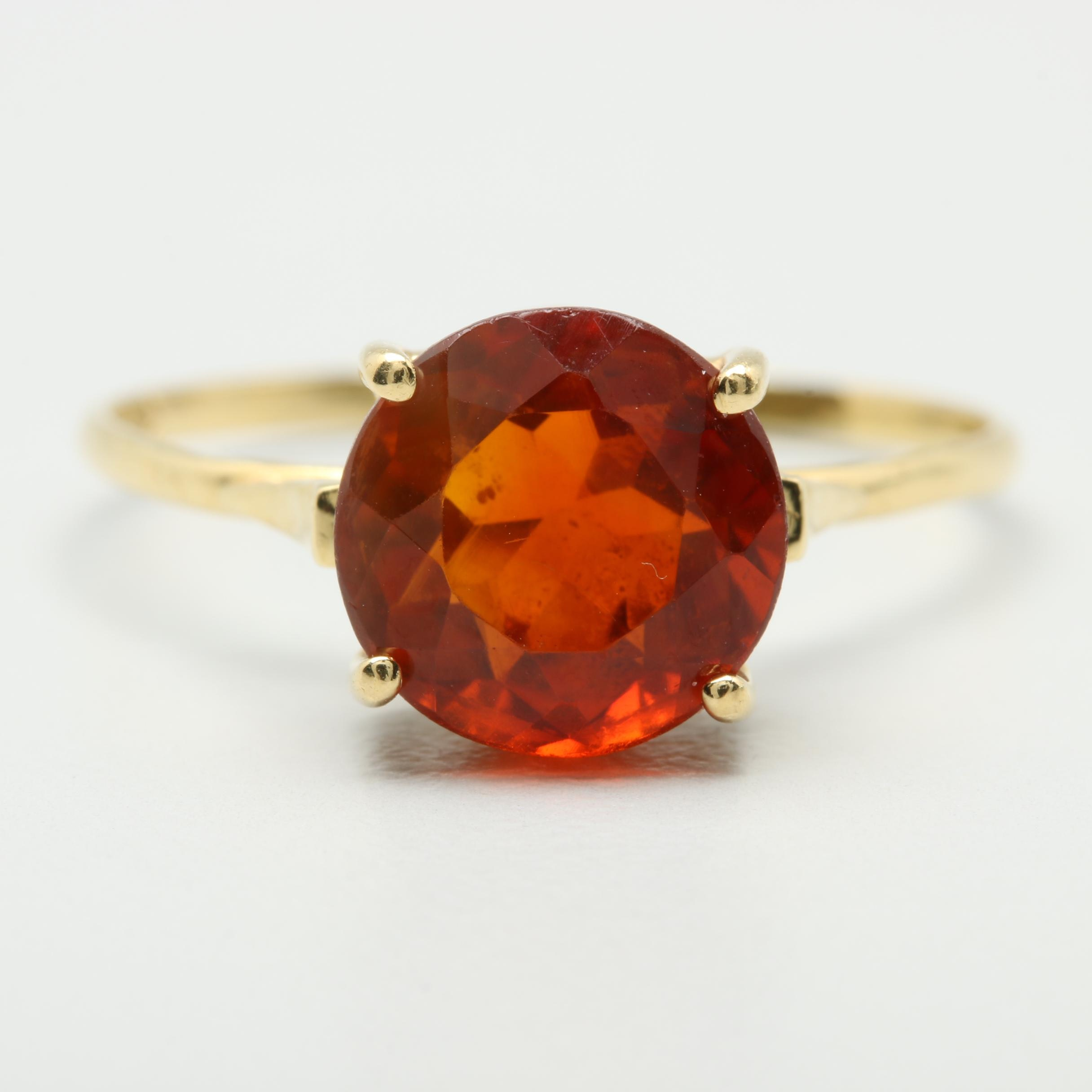 18K Yellow Gold Citrine Solitaire Ring