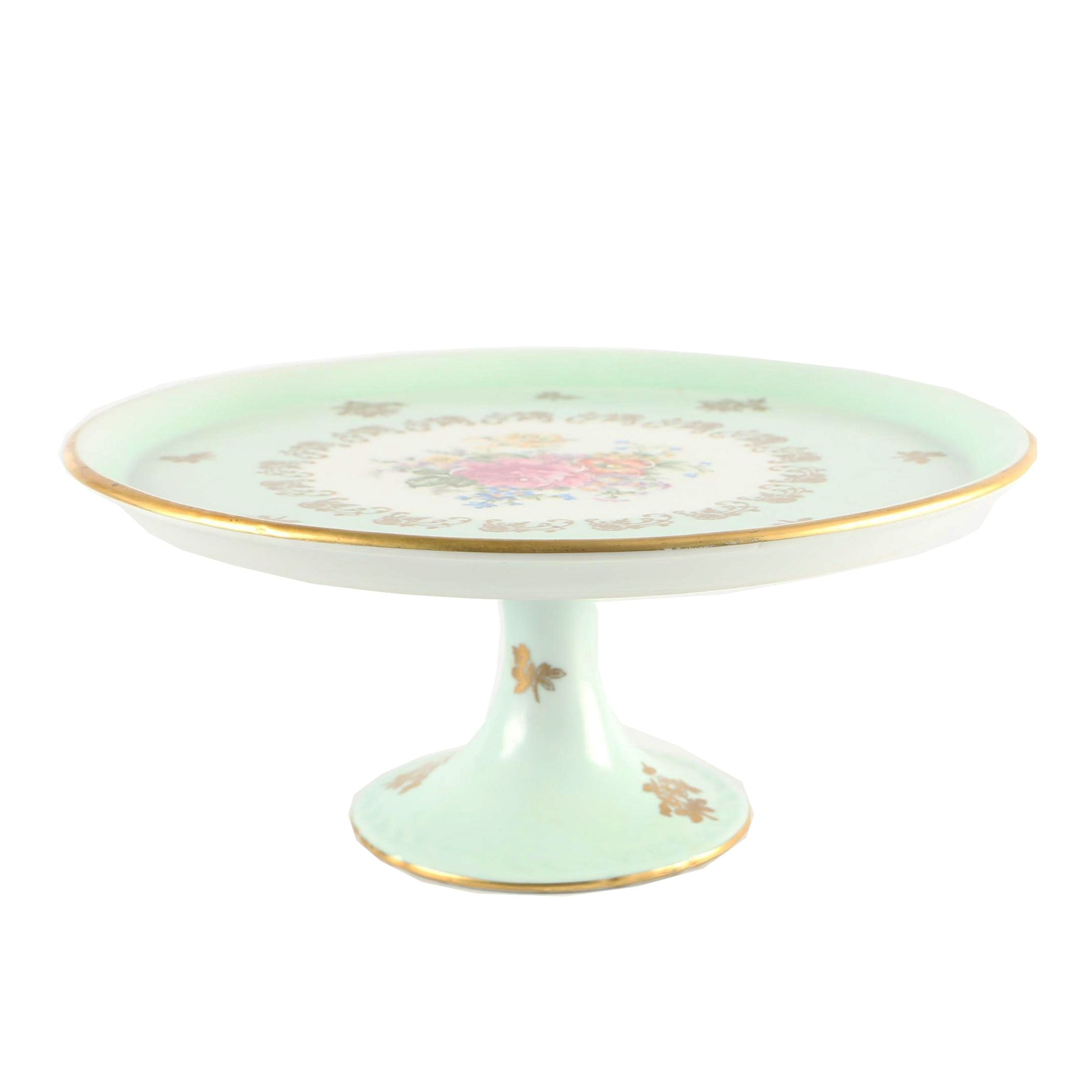 French Hand Painted Porcelain Cake Stand