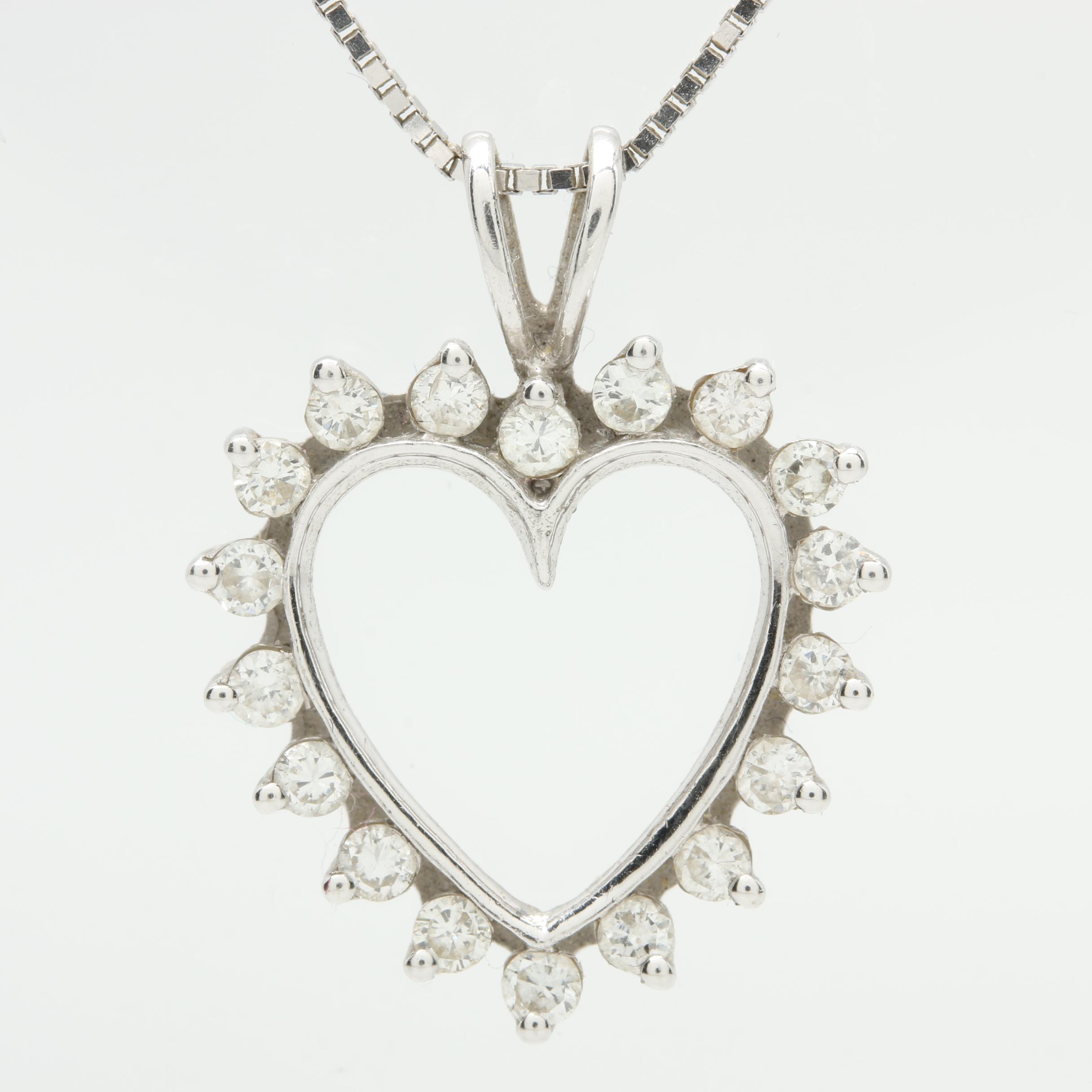 14K White Gold Diamond Open Heart Pendant Necklace