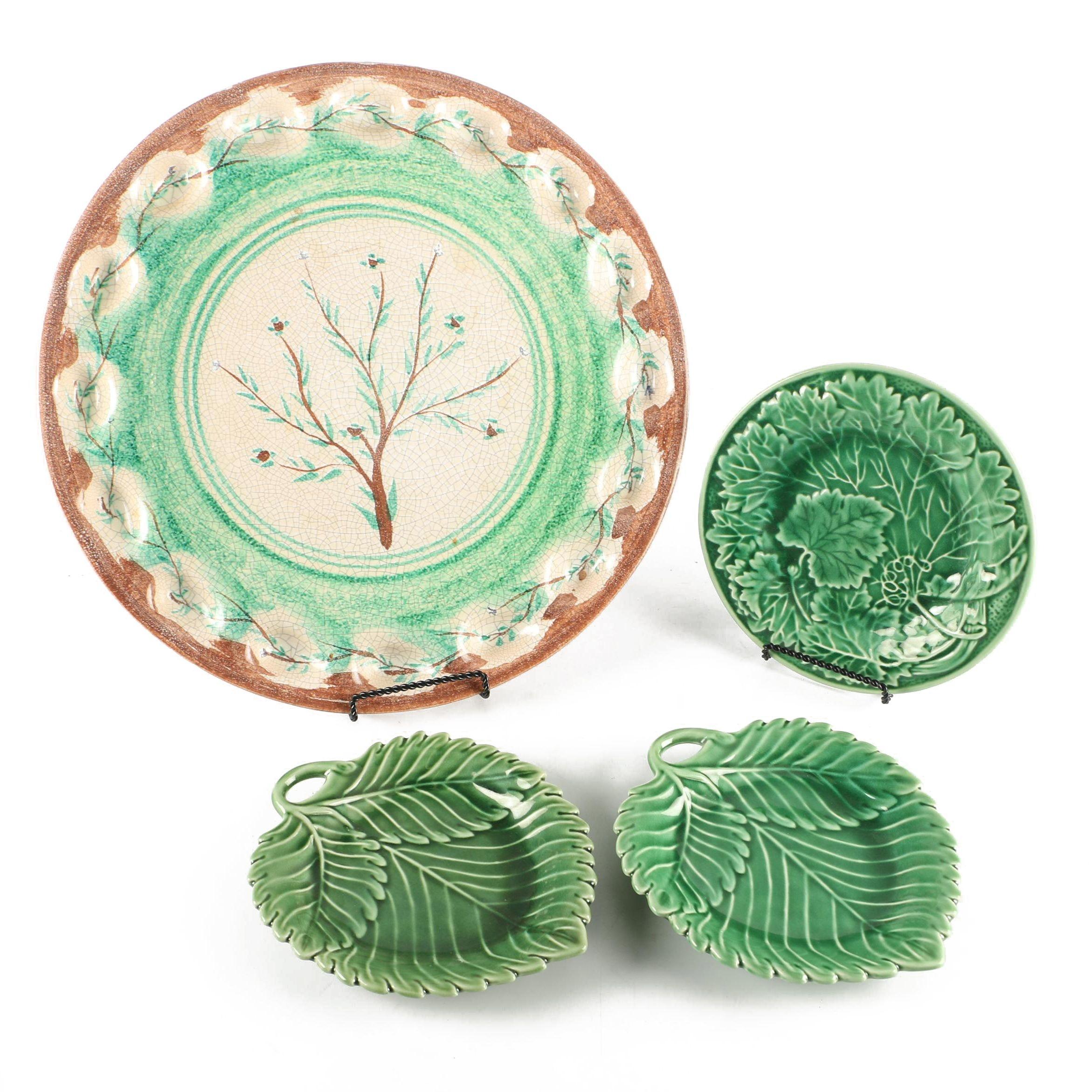 Ceramic Foliage Motif Serving Dishes
