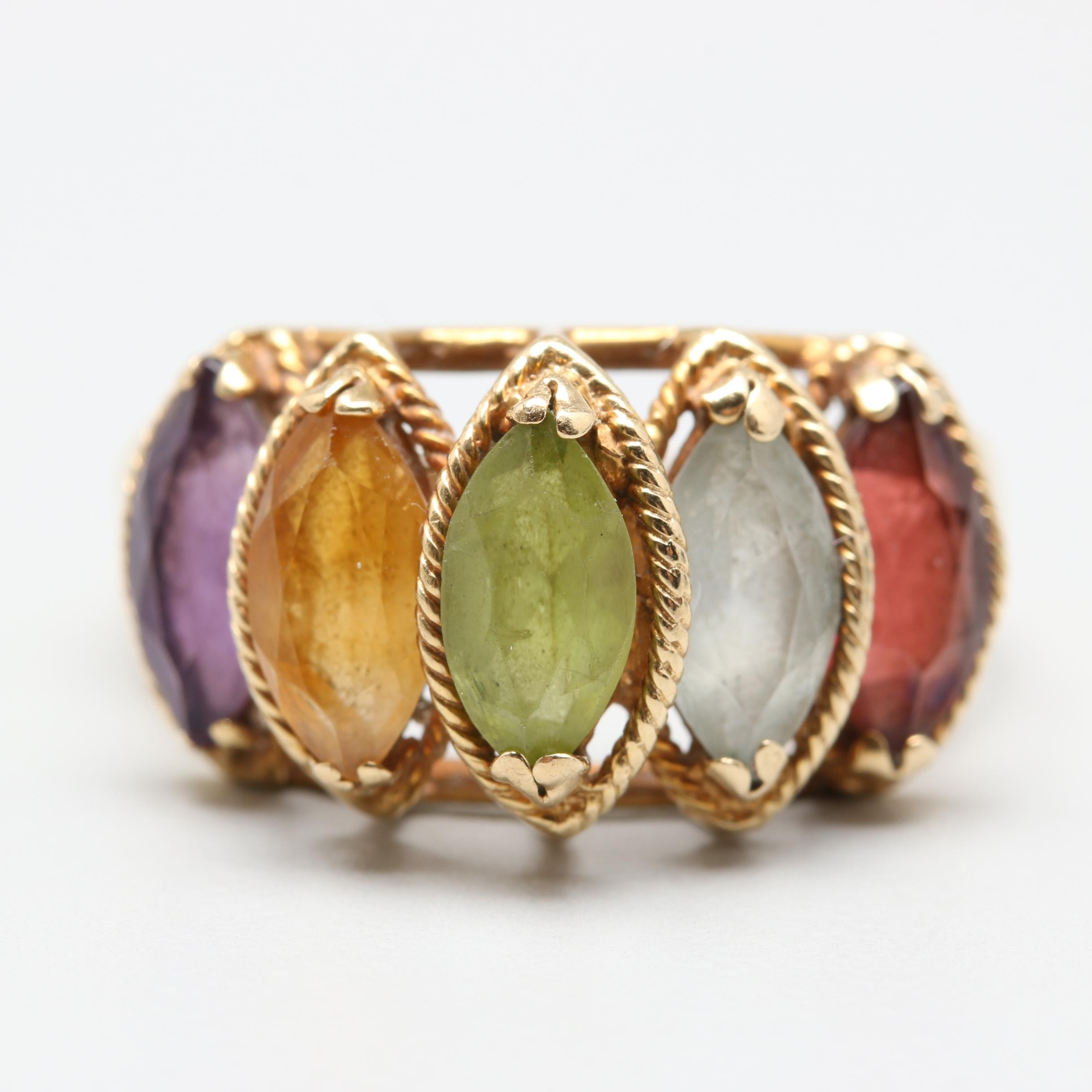 14K Yellow Gold Gemstone Mother's Ring