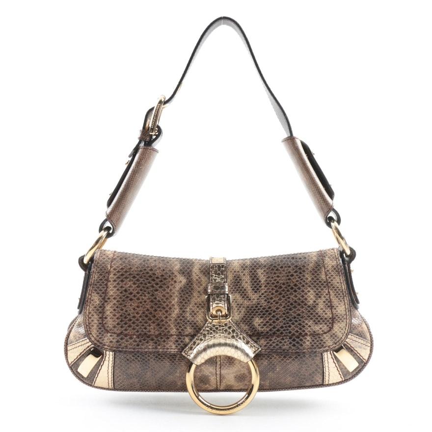 2c41f4d4bab Dolce   Gabbana Taupe and Gold Metallic Python Snakeskin Shoulder Bag   EBTH