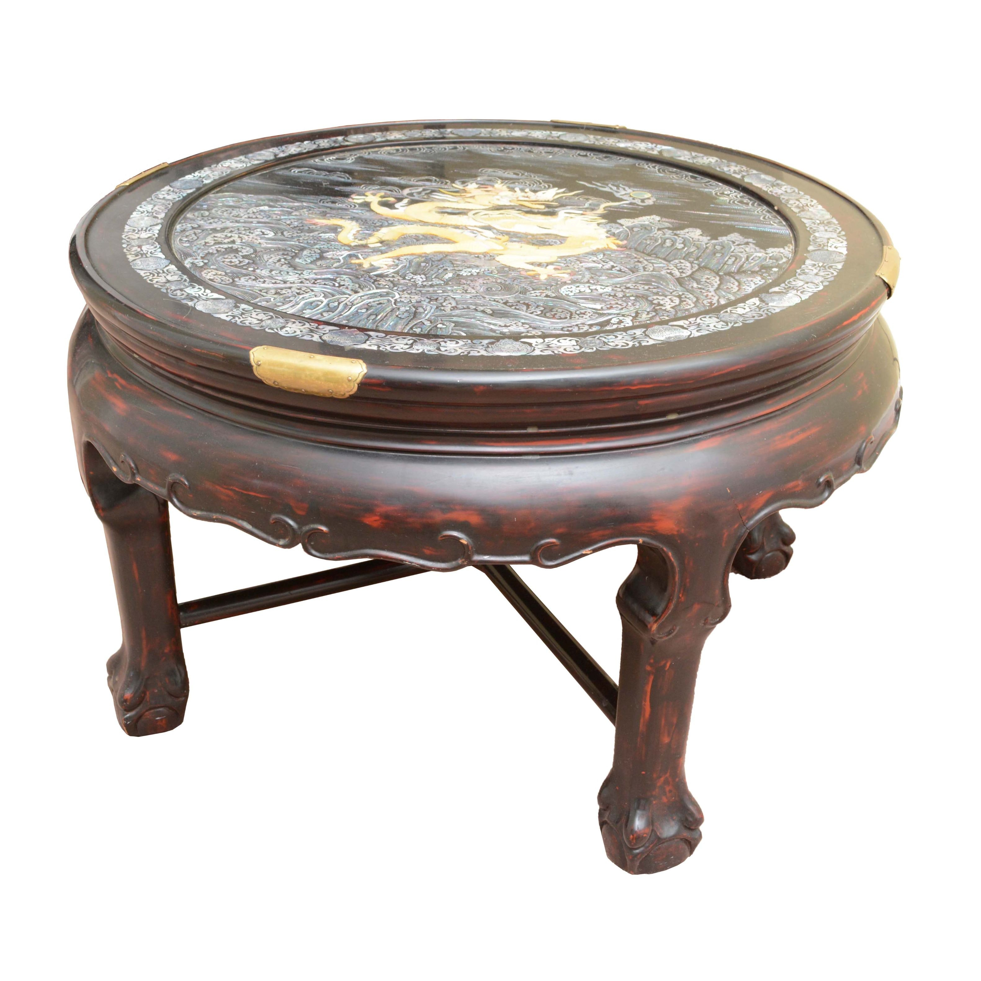 Vintage Asian Style Accent Table with Mother of Pearl Inlay