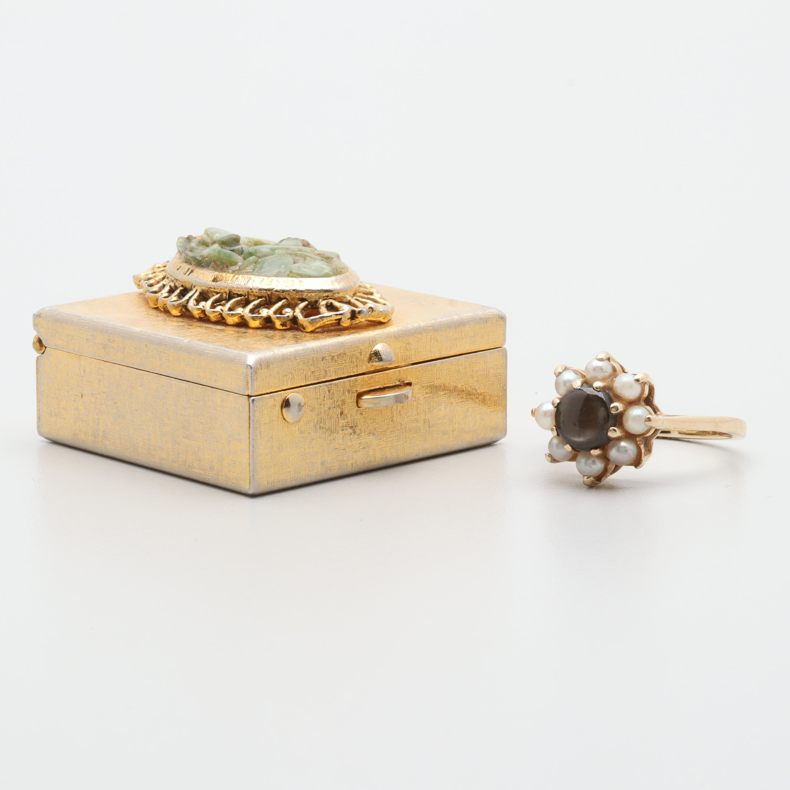 14K Gold Black Star Sapphire and Cultured Pearl Ring and Metal and Prehnite Box