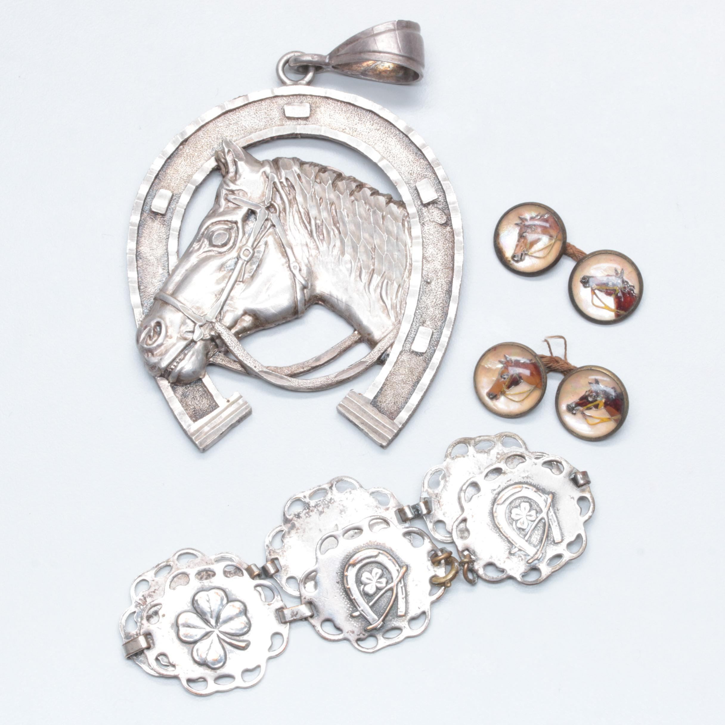 Sterling Silver and Costume Mother of Pearl and Resin Horse-Themed Jewelry