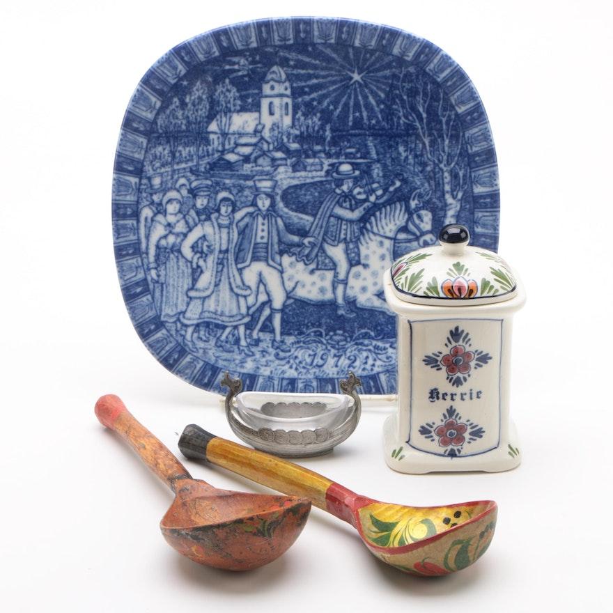 Vintage Delft Canister Spoons Tin Salt Cellar And Porcelain