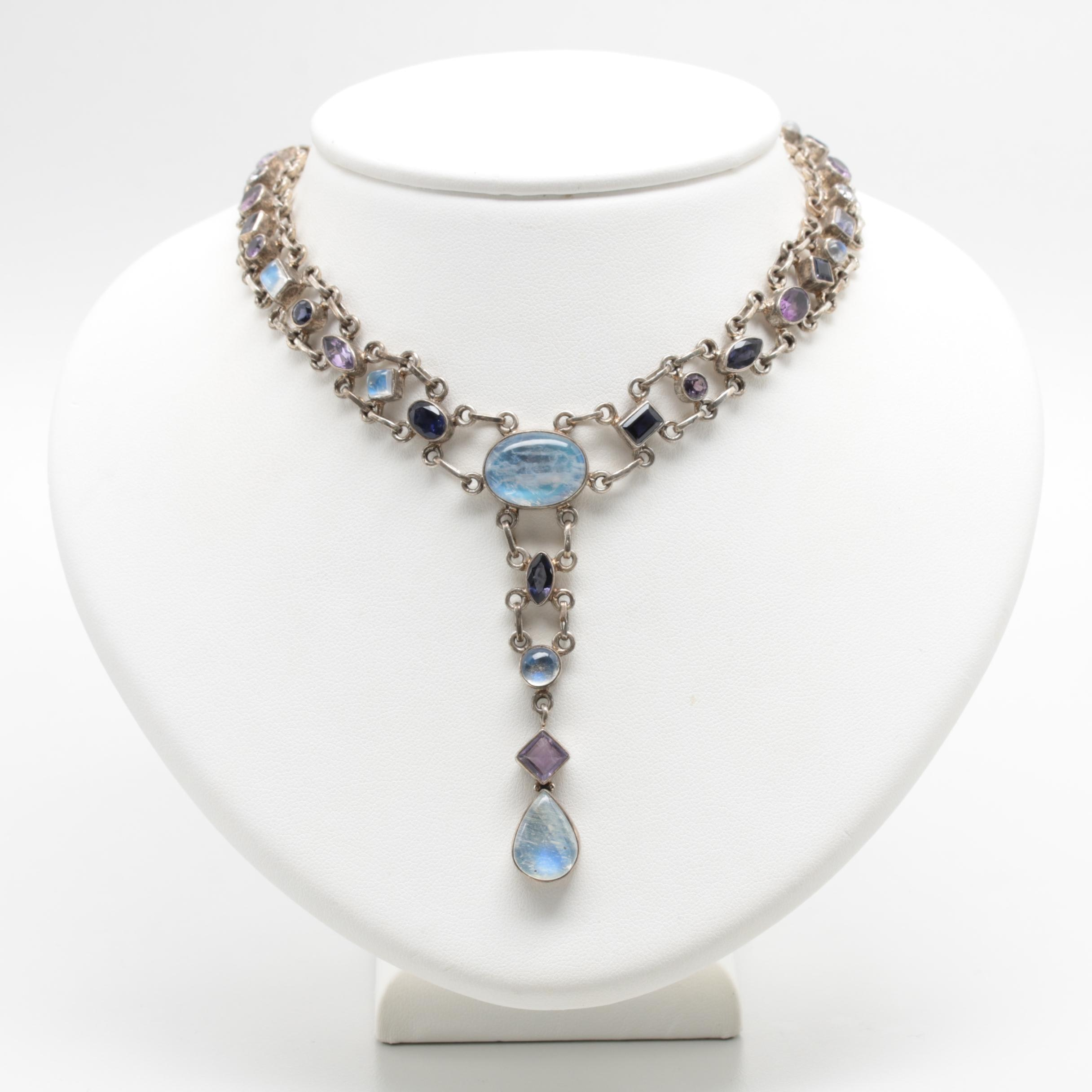 Sterling Silver Labradorite, Amethyst, Iolite, and Cubic Zirconia Necklace