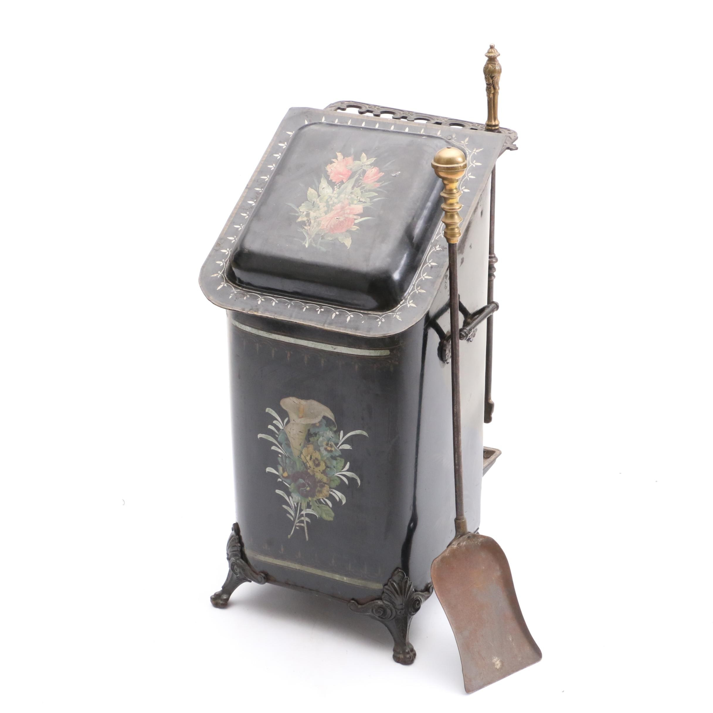 Antique Tole Painted Coal Bin with Fireplace Tools