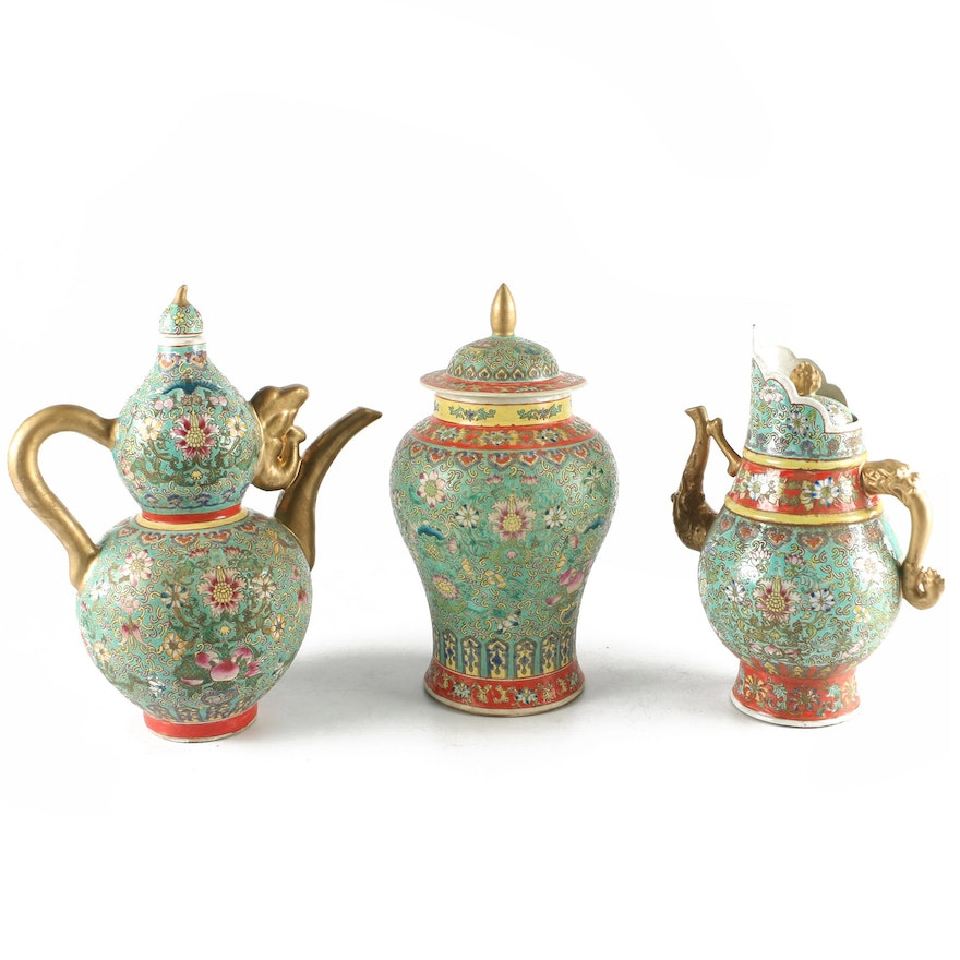 Chinese Hand Painted Ceramic Teapot Vase And Ginger Jar With Gold