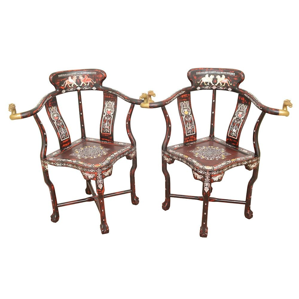 Vintage Asian Style Corner Armchairs with Mother of Pearl Inlay