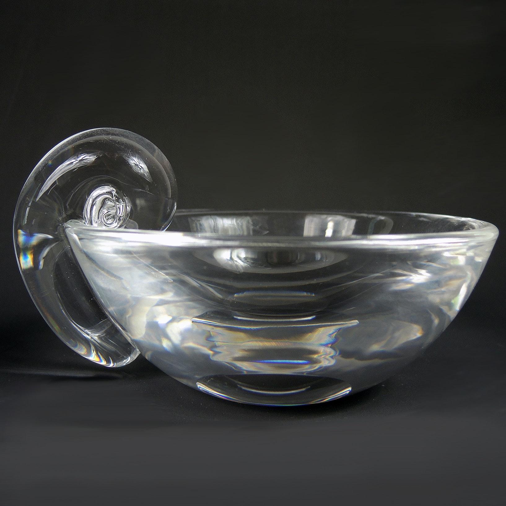 Steuben Glass Snail Handle Olive Dish