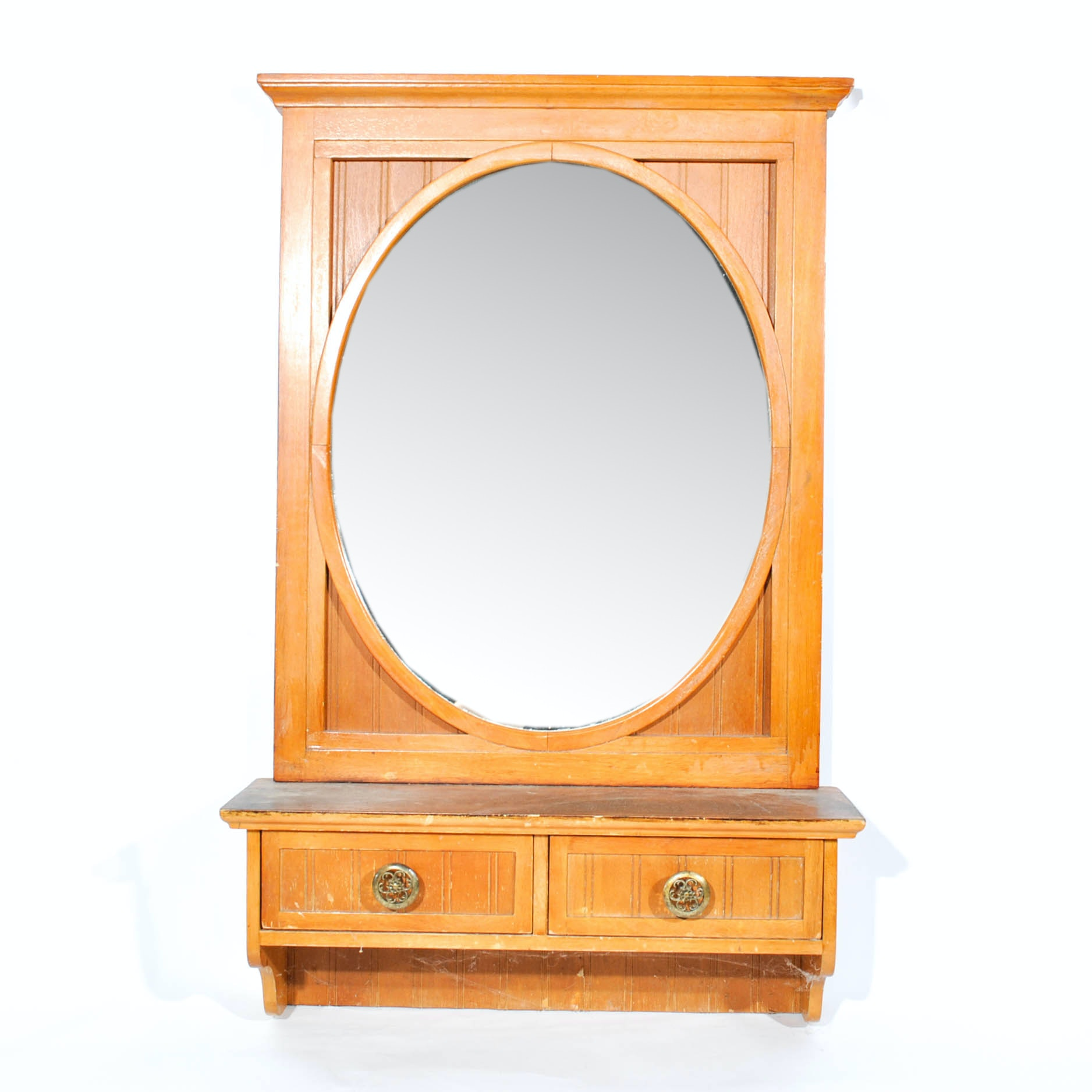 French Country Style Wainscot Hall Mirror with Drawers