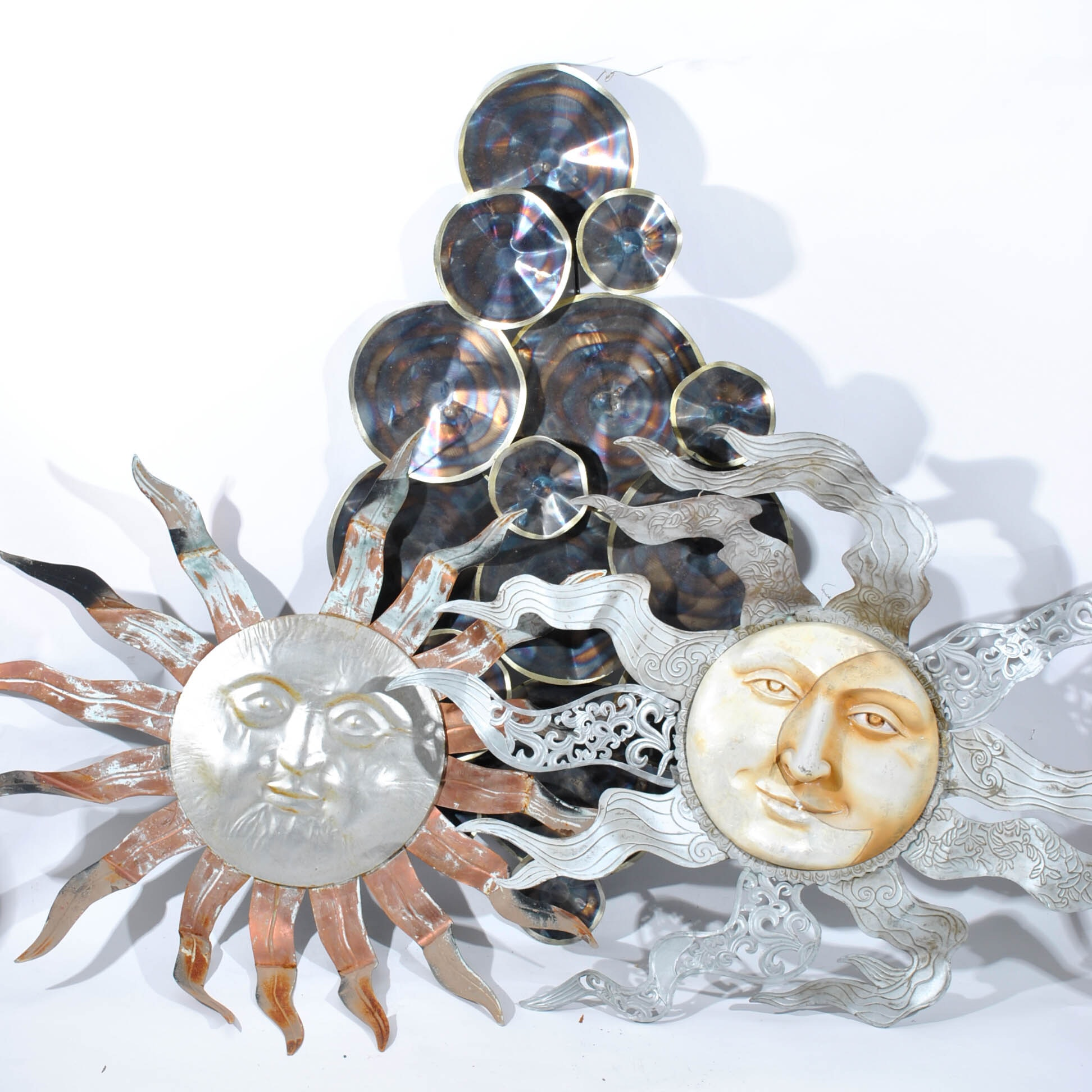 Garden Decor including Two Sun in Splendor and Sculptural Discs