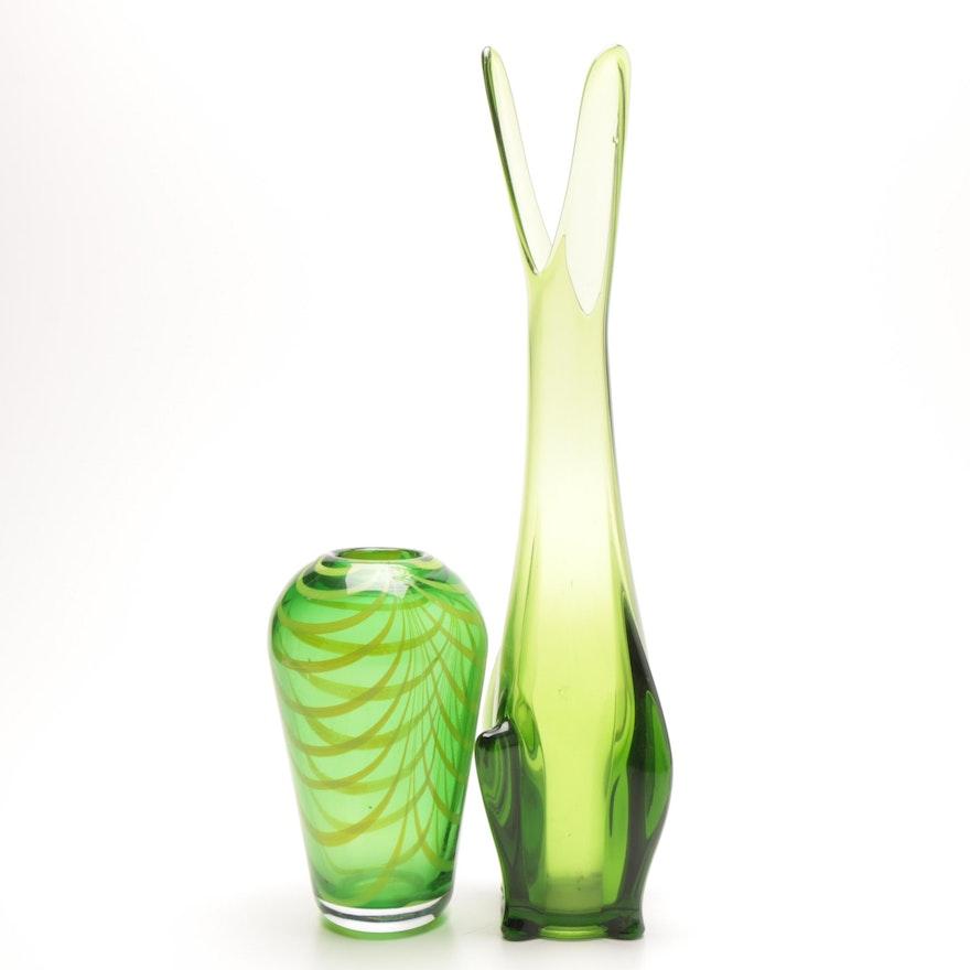 Green Art Glass Vases Ebth