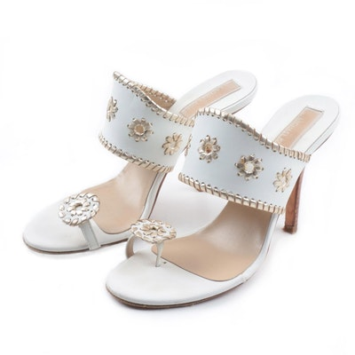 e502c9e6135 Michael Kors White Leather Slide Sandals with Gold Metallic Accents