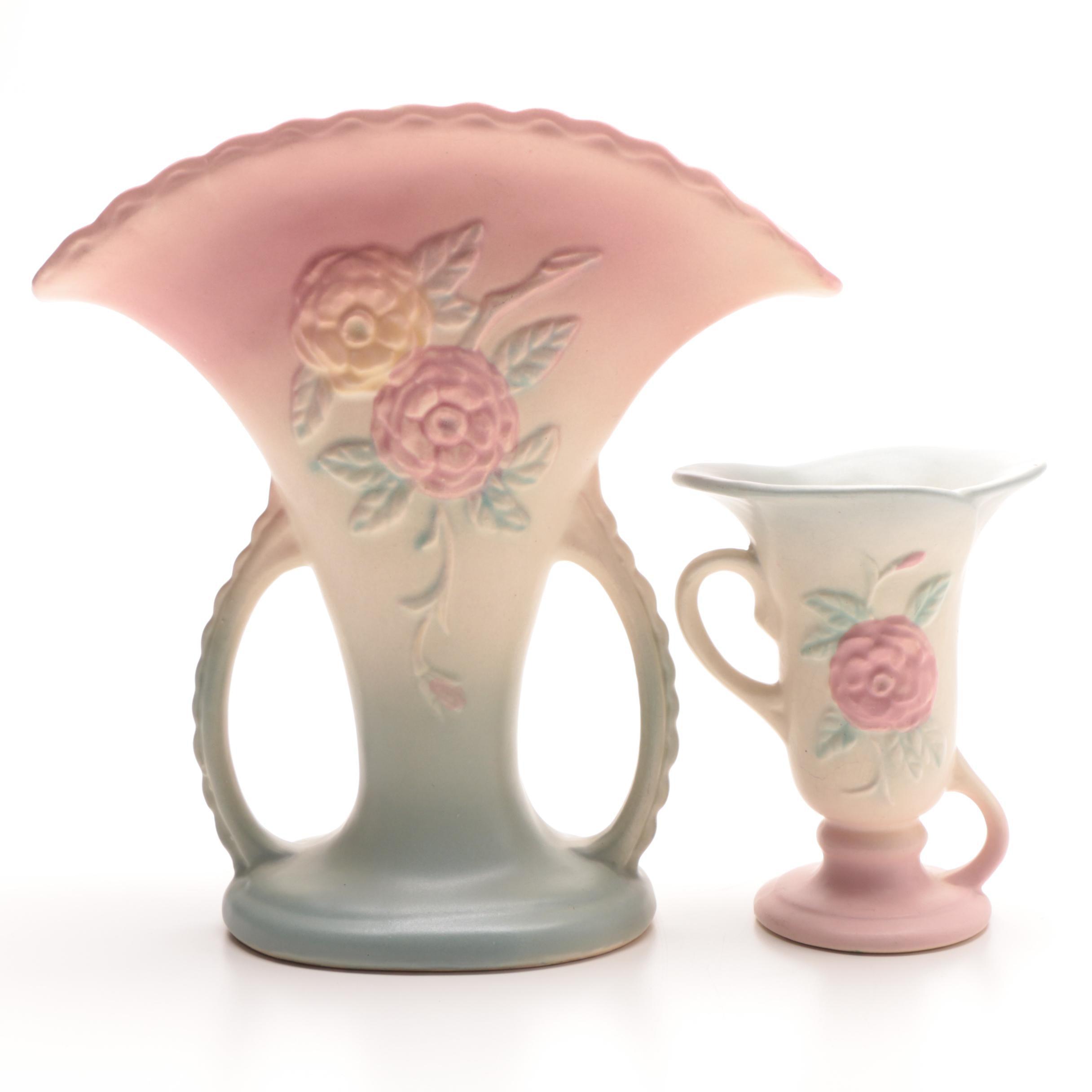 "Hull ""Open Roses"" Pottery Vases"
