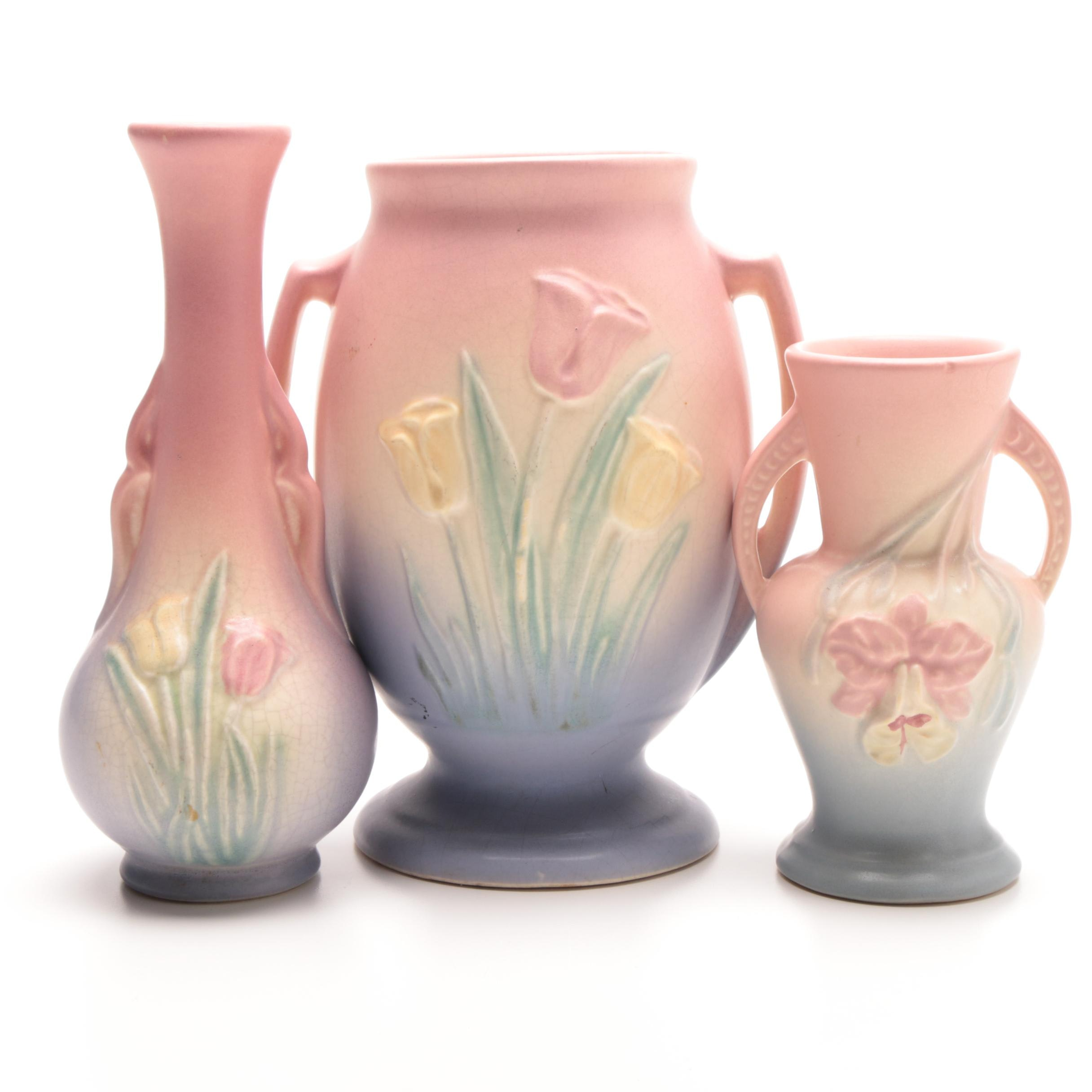 "Hull ""Sueno Tulip"" and ""Orchid"" Pottery Vases"