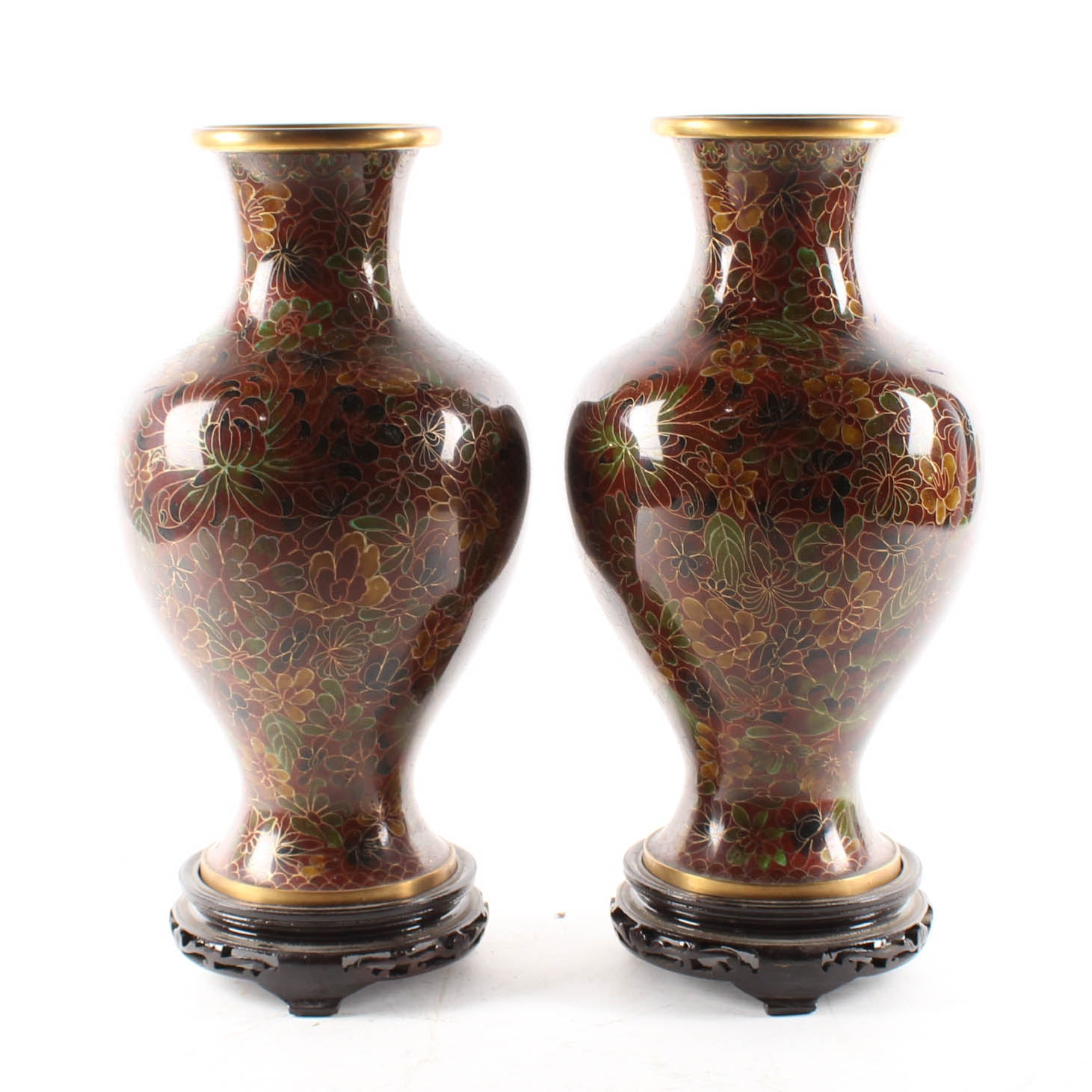 Chinese Zi Jin Cheng Cloisonne Vases