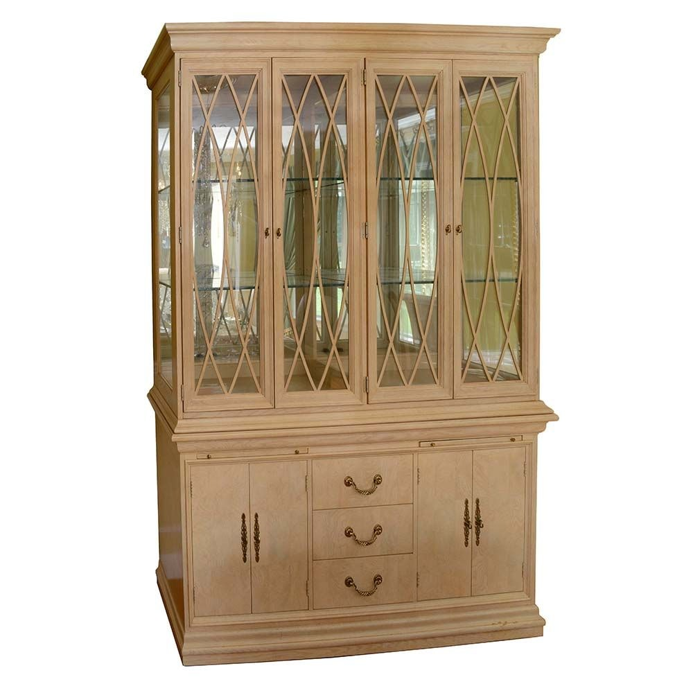 Contemporary Glass-Front Illuminated China Cabinet