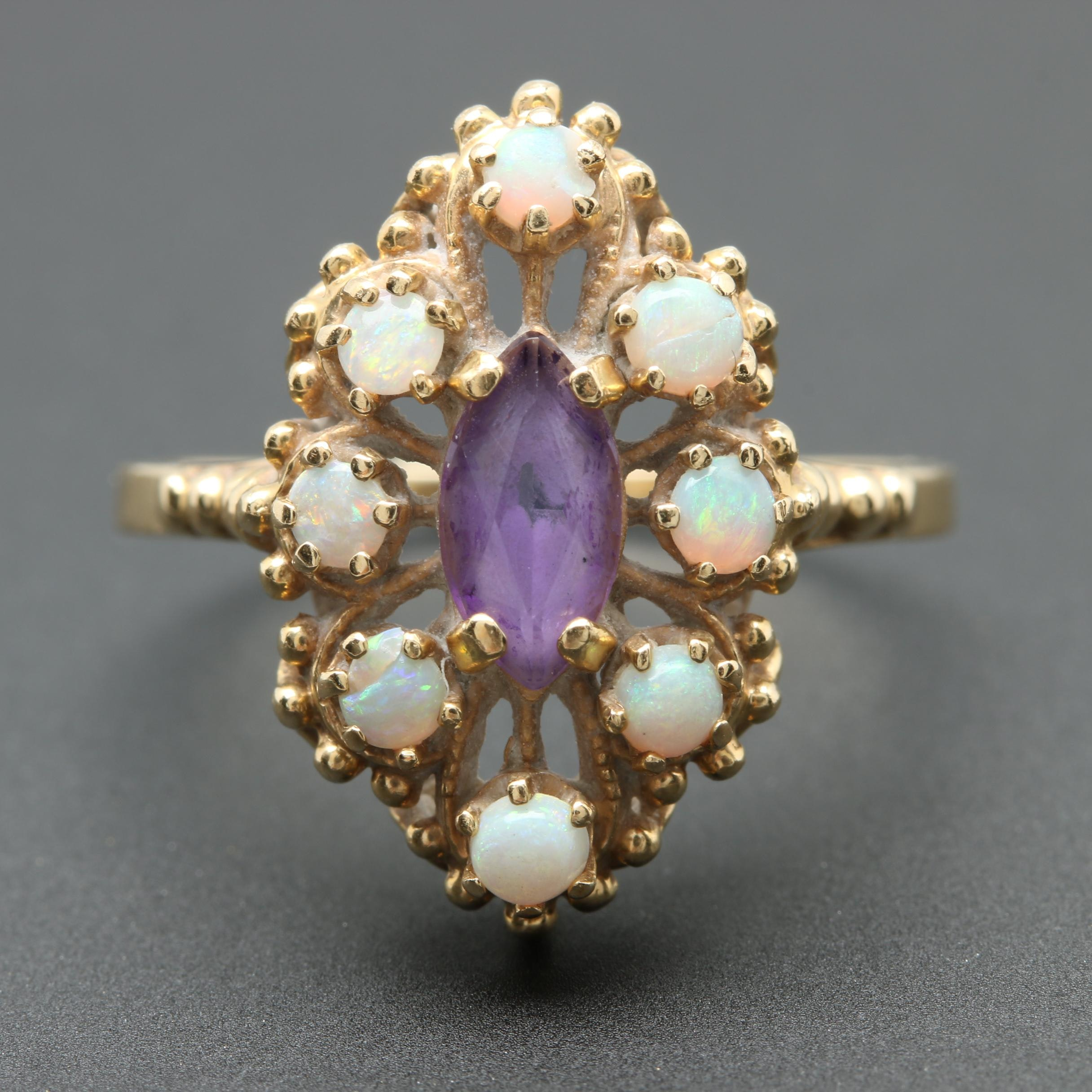 Vintage 14K Yellow Gold Amethyst and Opal Ring