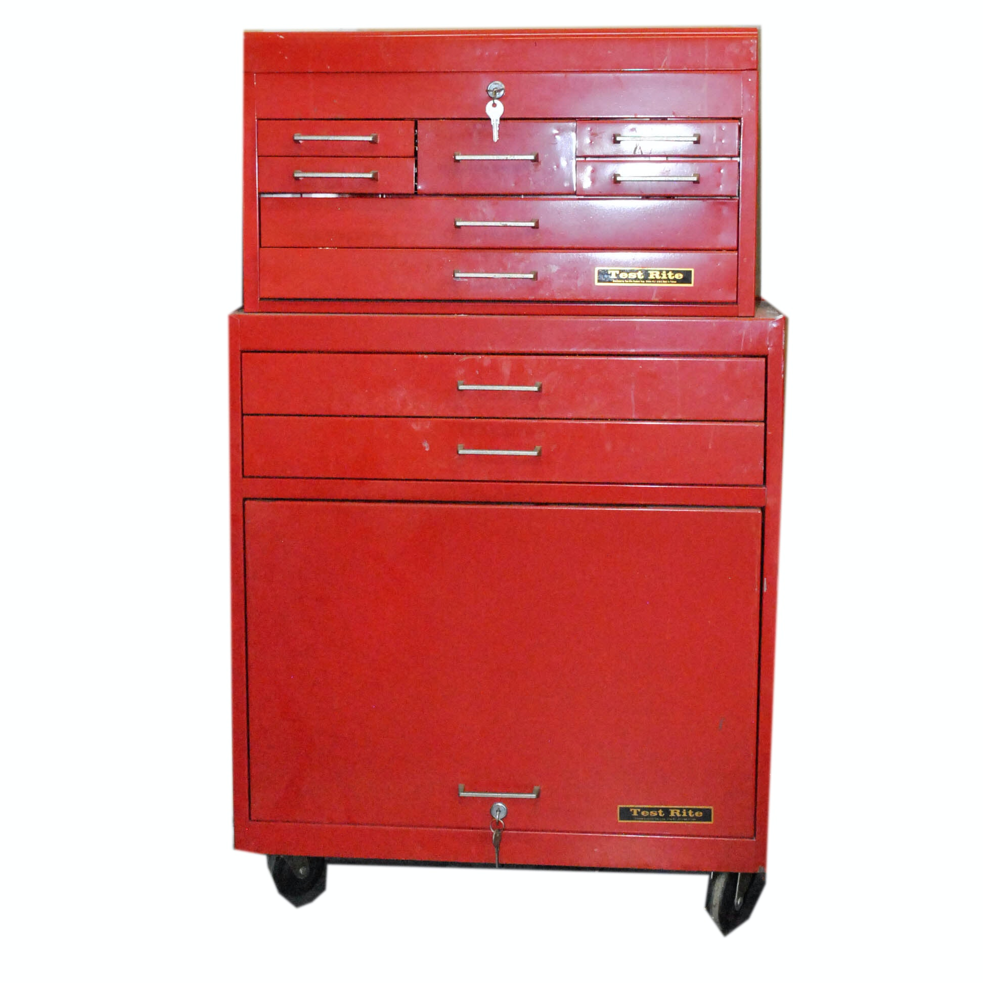 Vintage Red Metal Rolling Tool Chest by Test Rite