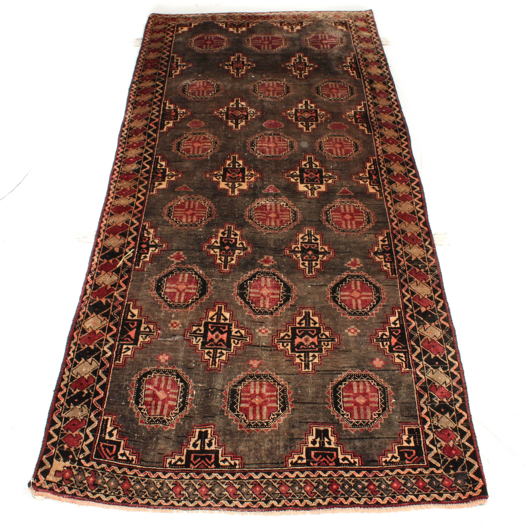 Vintage Hand-Knotted Persian Turkmen Long Rug