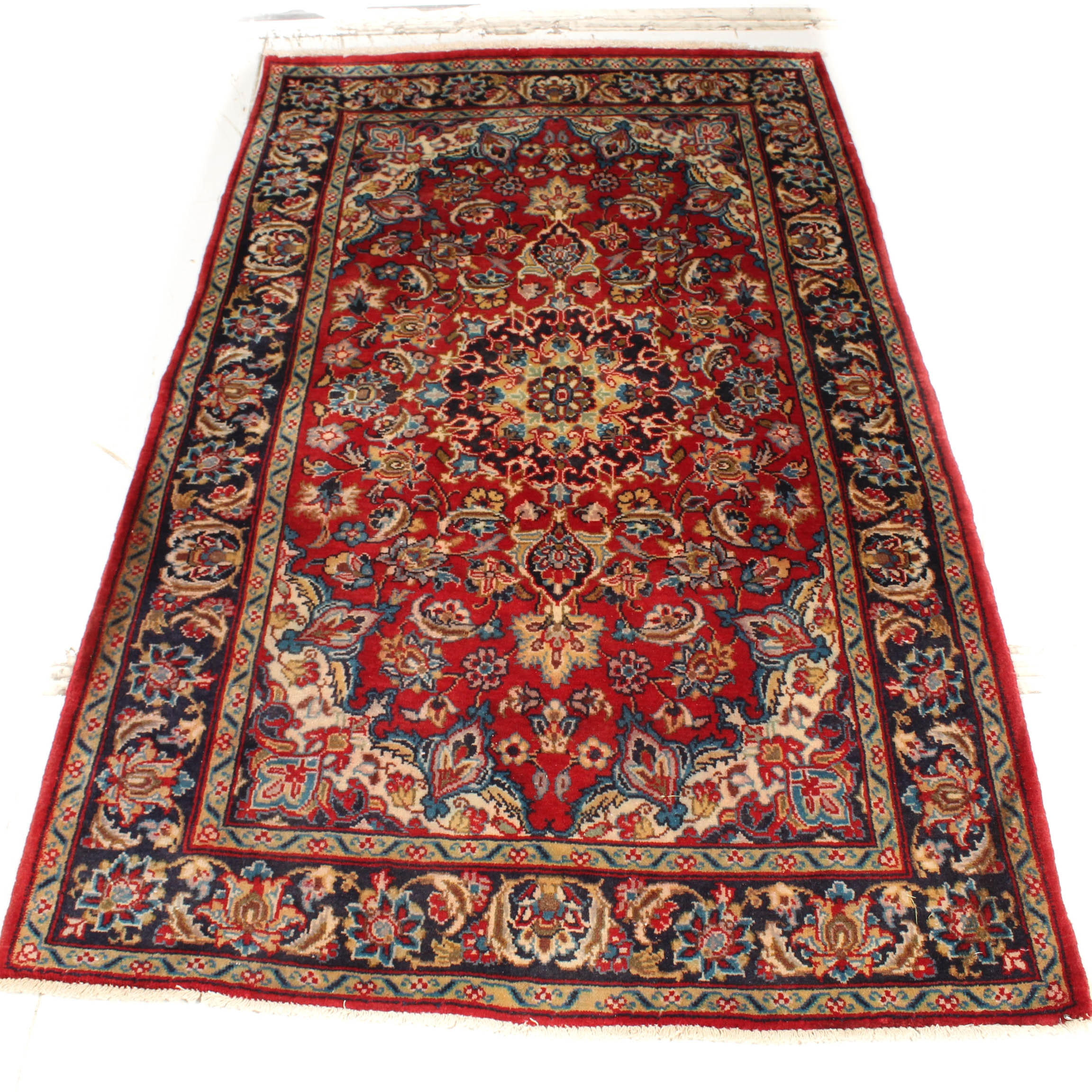 Vintage Hand-Knotted Persian Isfahan Area Rug