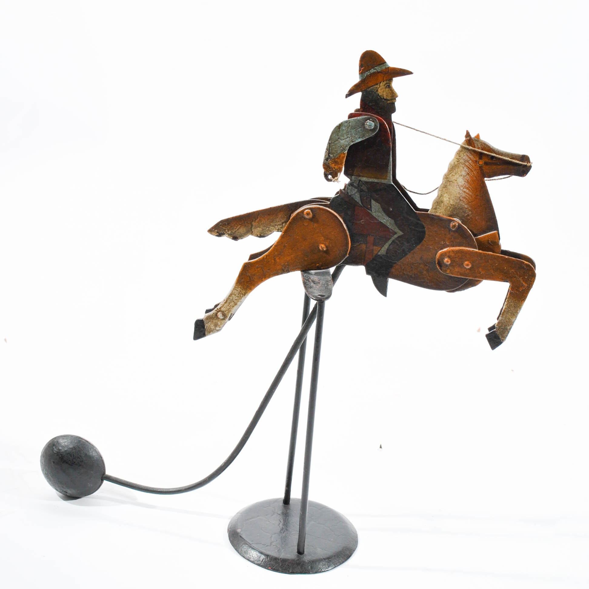 Painted Metal Cowboy and Horse Balancing Toy