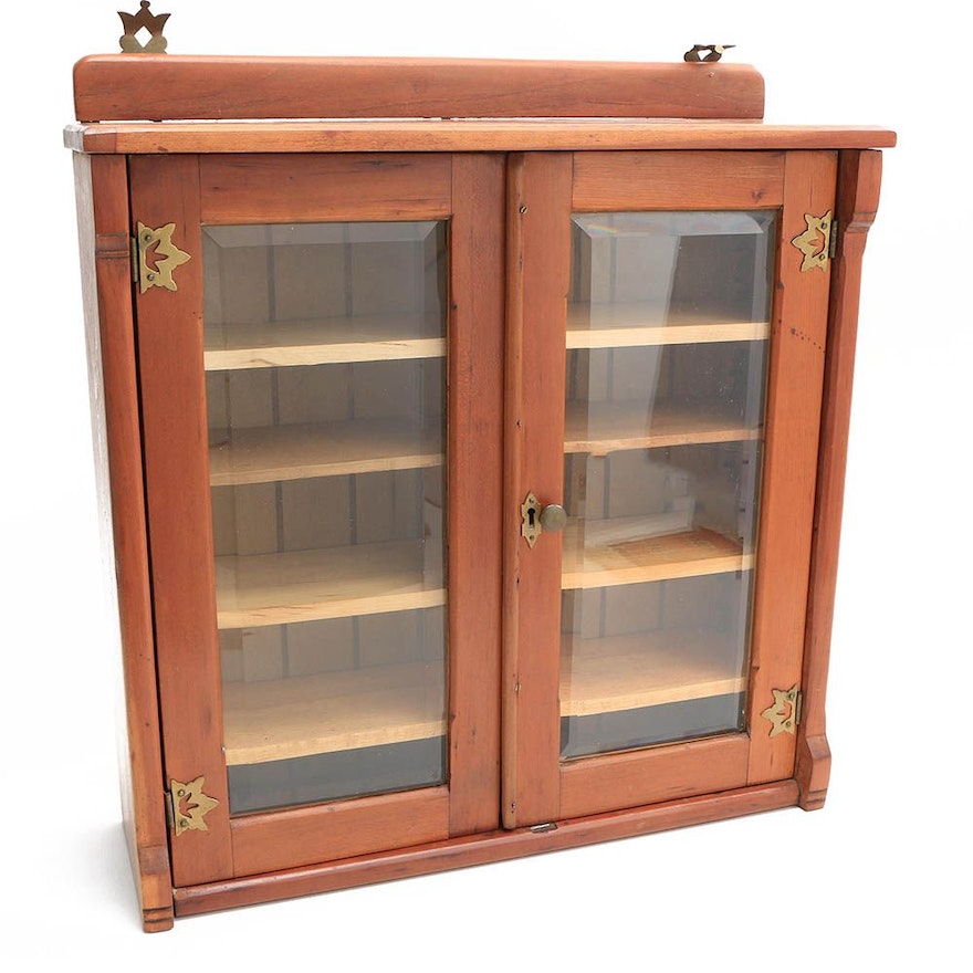 Vintage Wall Cabinet With Beveled Glass Doors Ebth