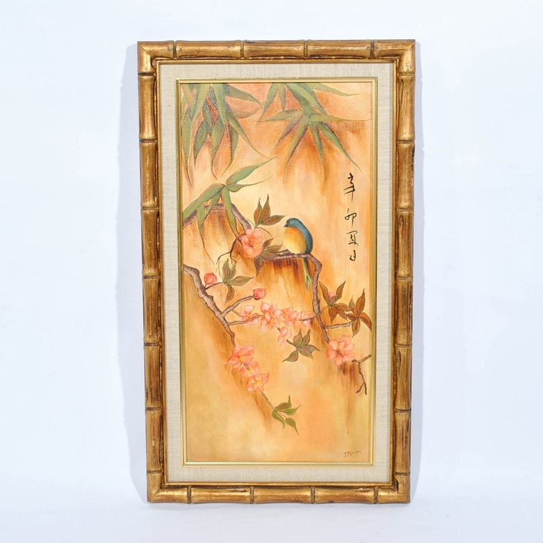 East Asian Inspired Painting of Bird on Flowering Branch