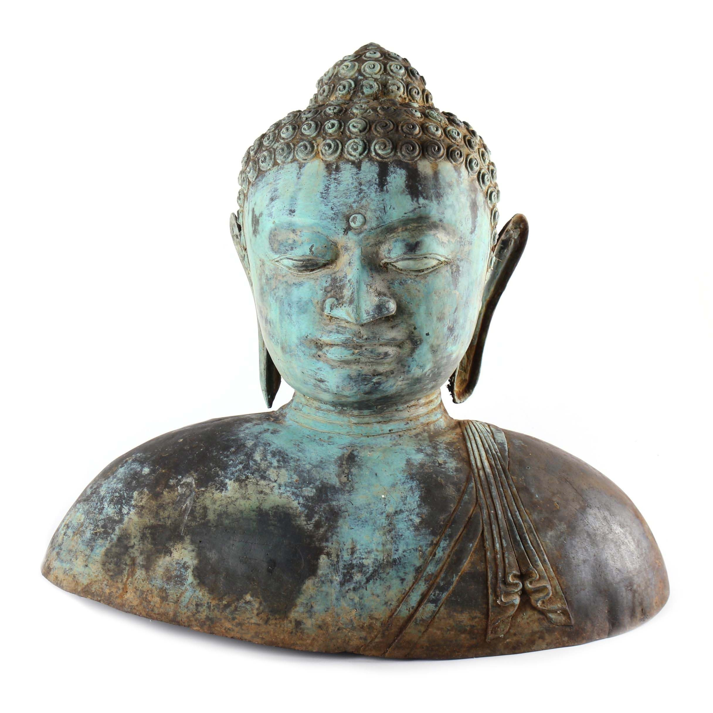 Concrete Buddha Bust with Patinaed Metal Overlay