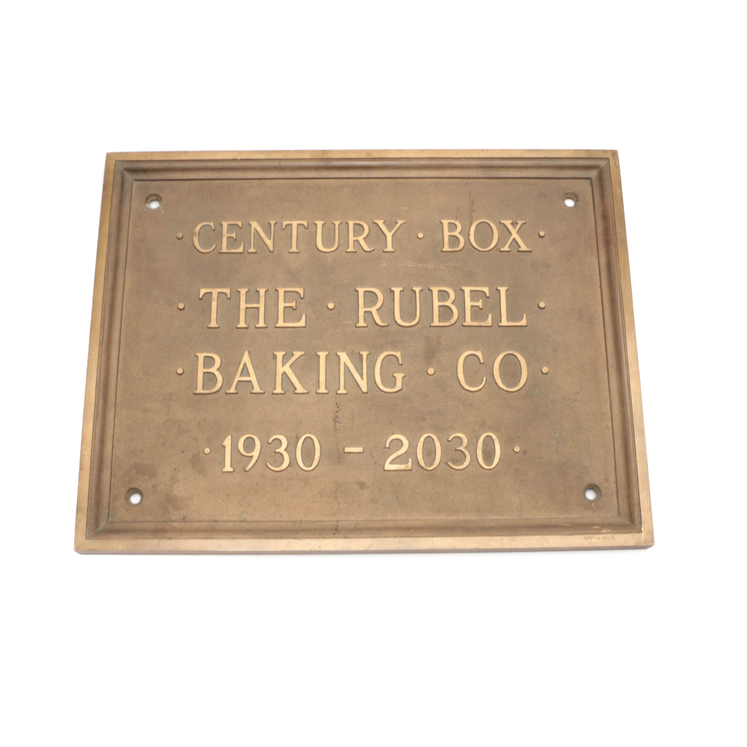 Vintage Rubel Baking Company Brass Sign