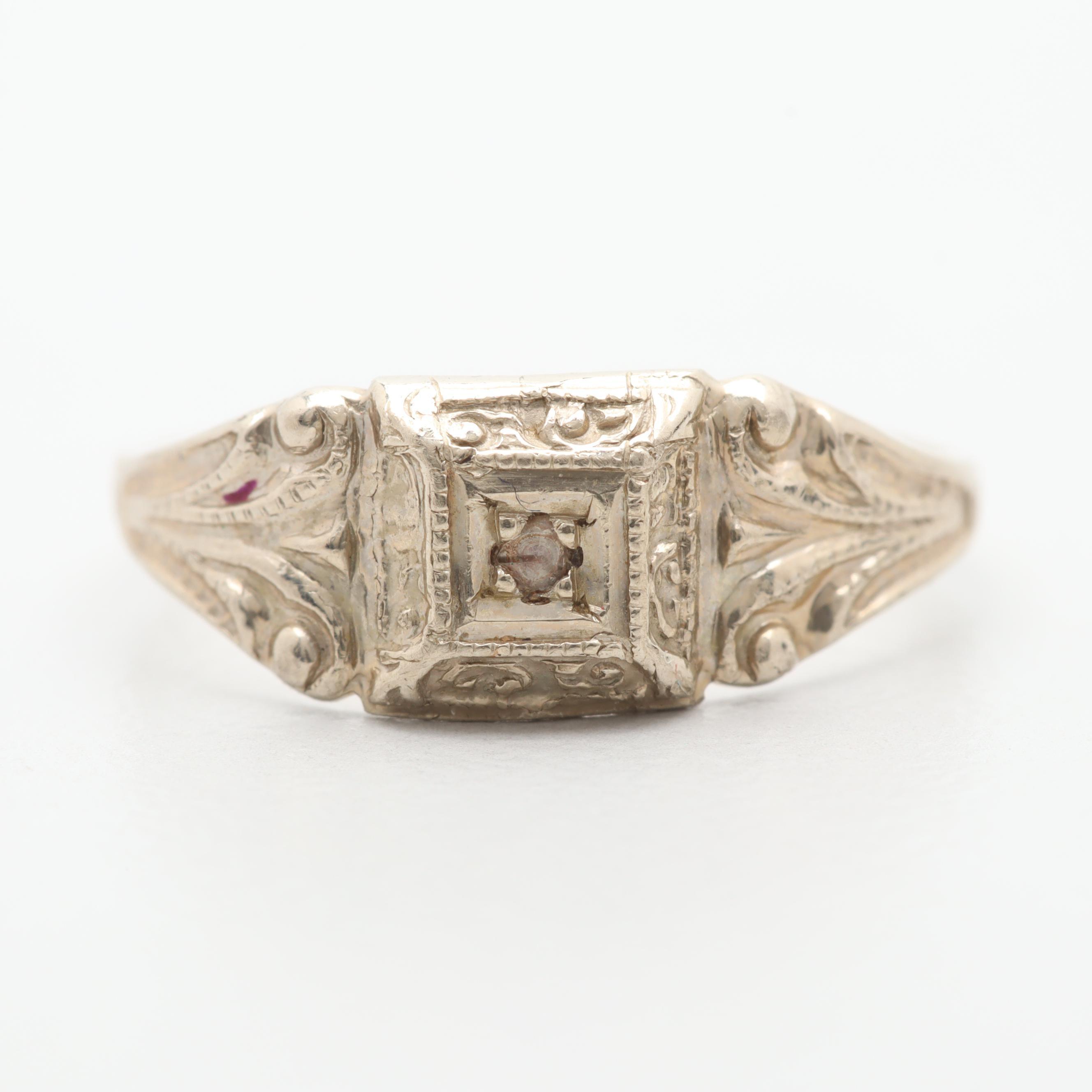 14K White Gold Diamond Baby Ring